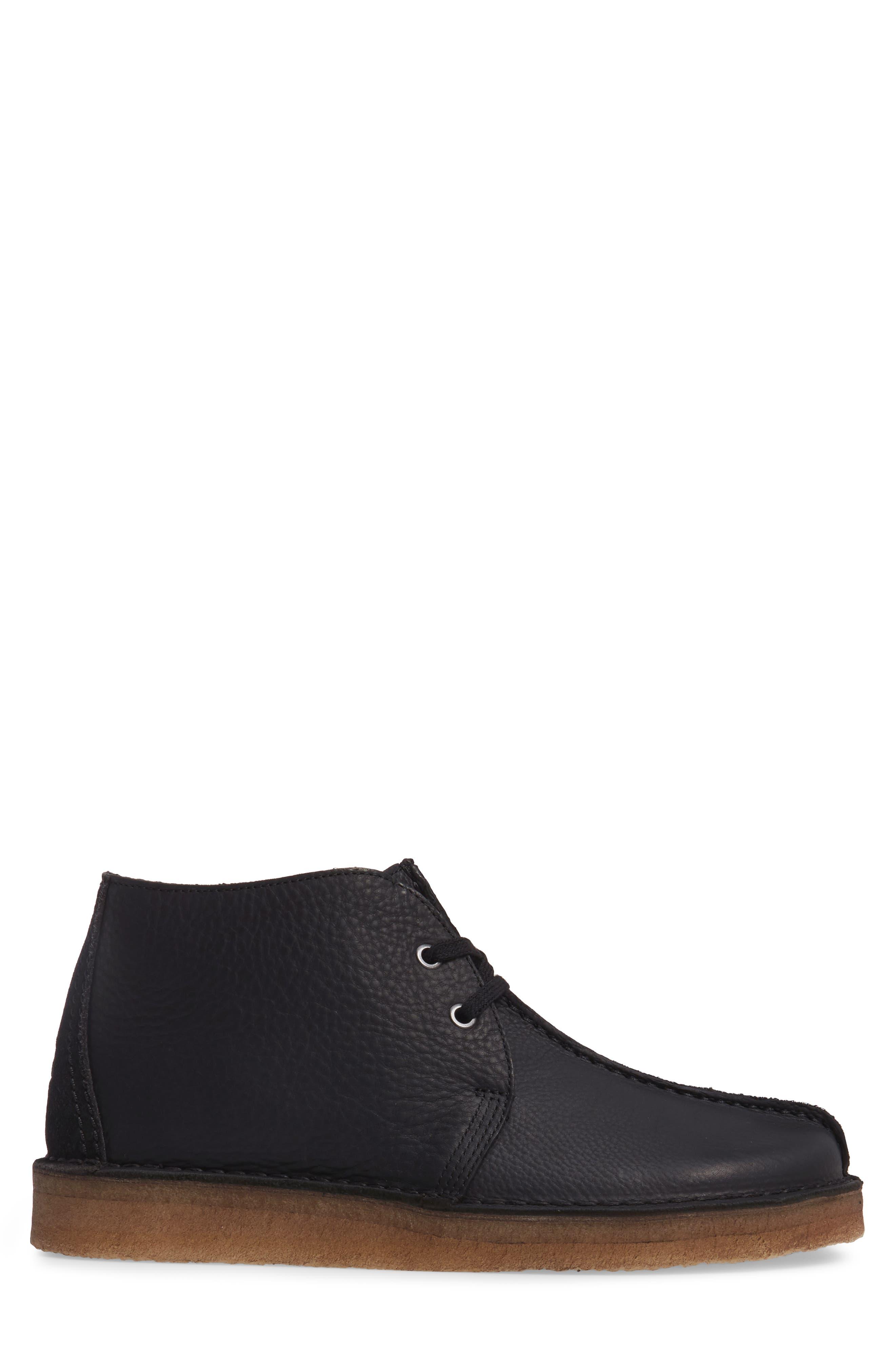 Clarks Desert Trek Leather Boot,                             Alternate thumbnail 3, color,                             Black Leather