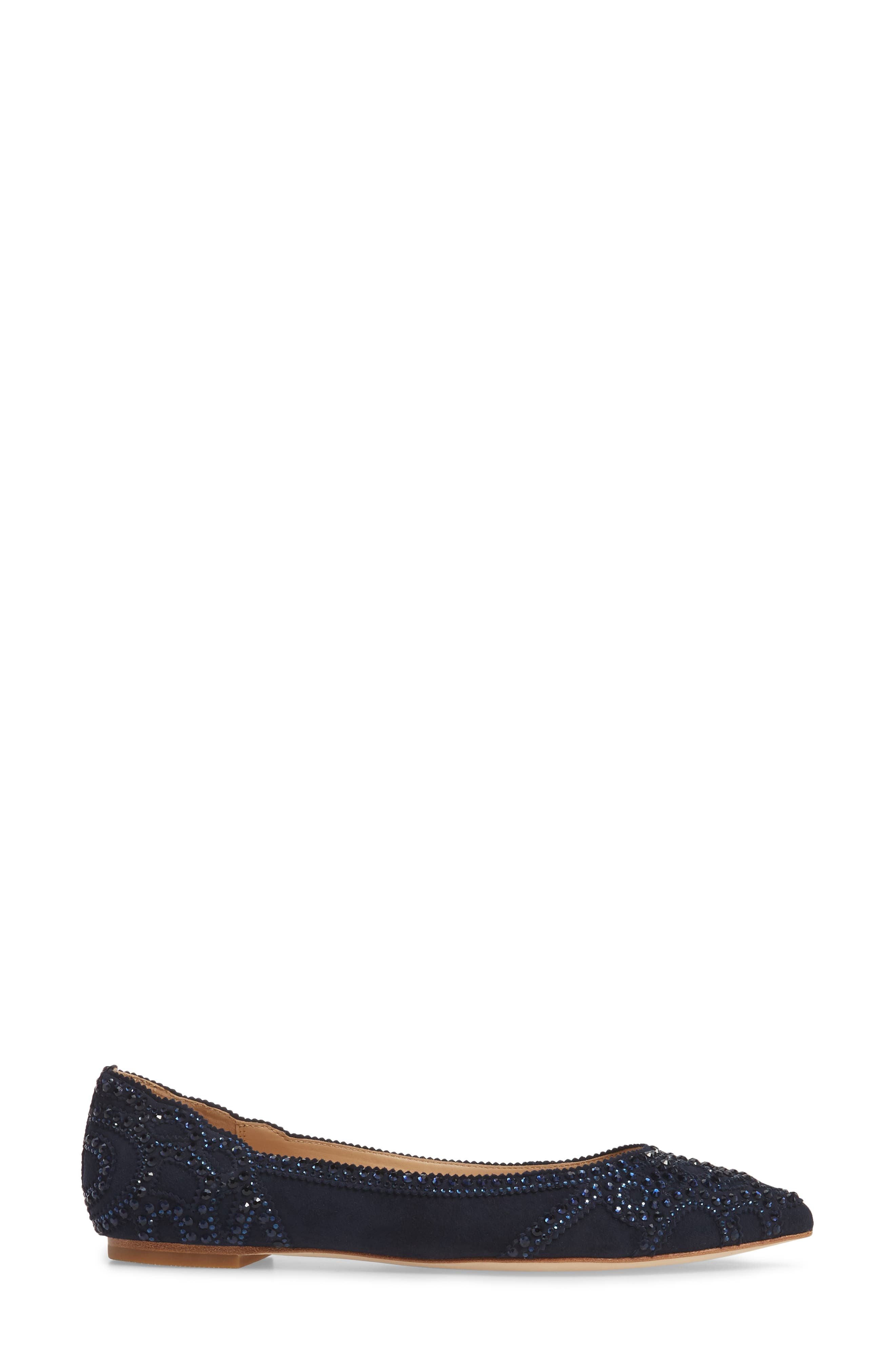 Gigi Crystal Pointy Toe Flat,                             Alternate thumbnail 3, color,                             Midnight Suede