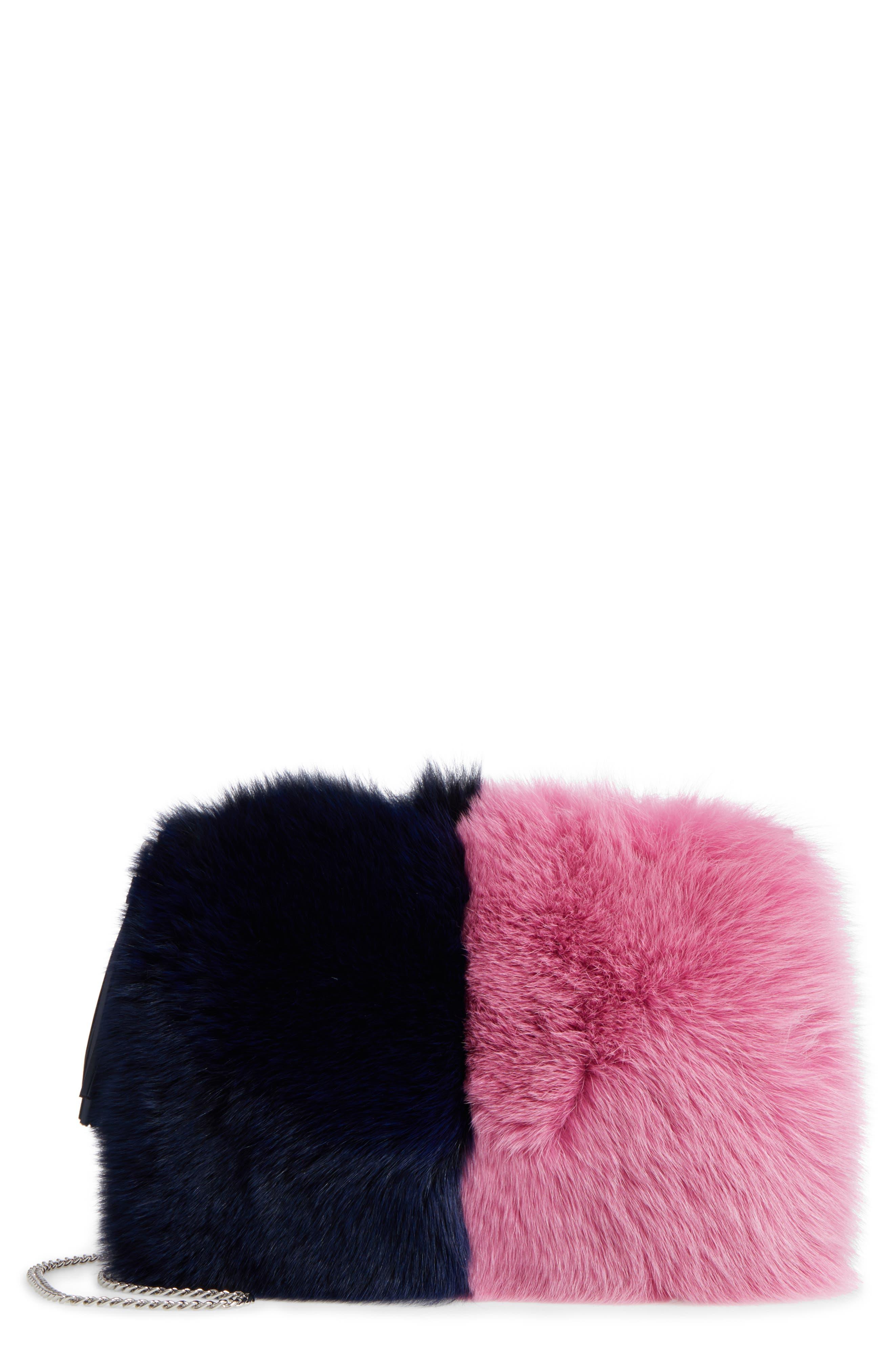 Genuine Fox Fur Tassel Pouch,                         Main,                         color, Eclipse/ Hot Pink