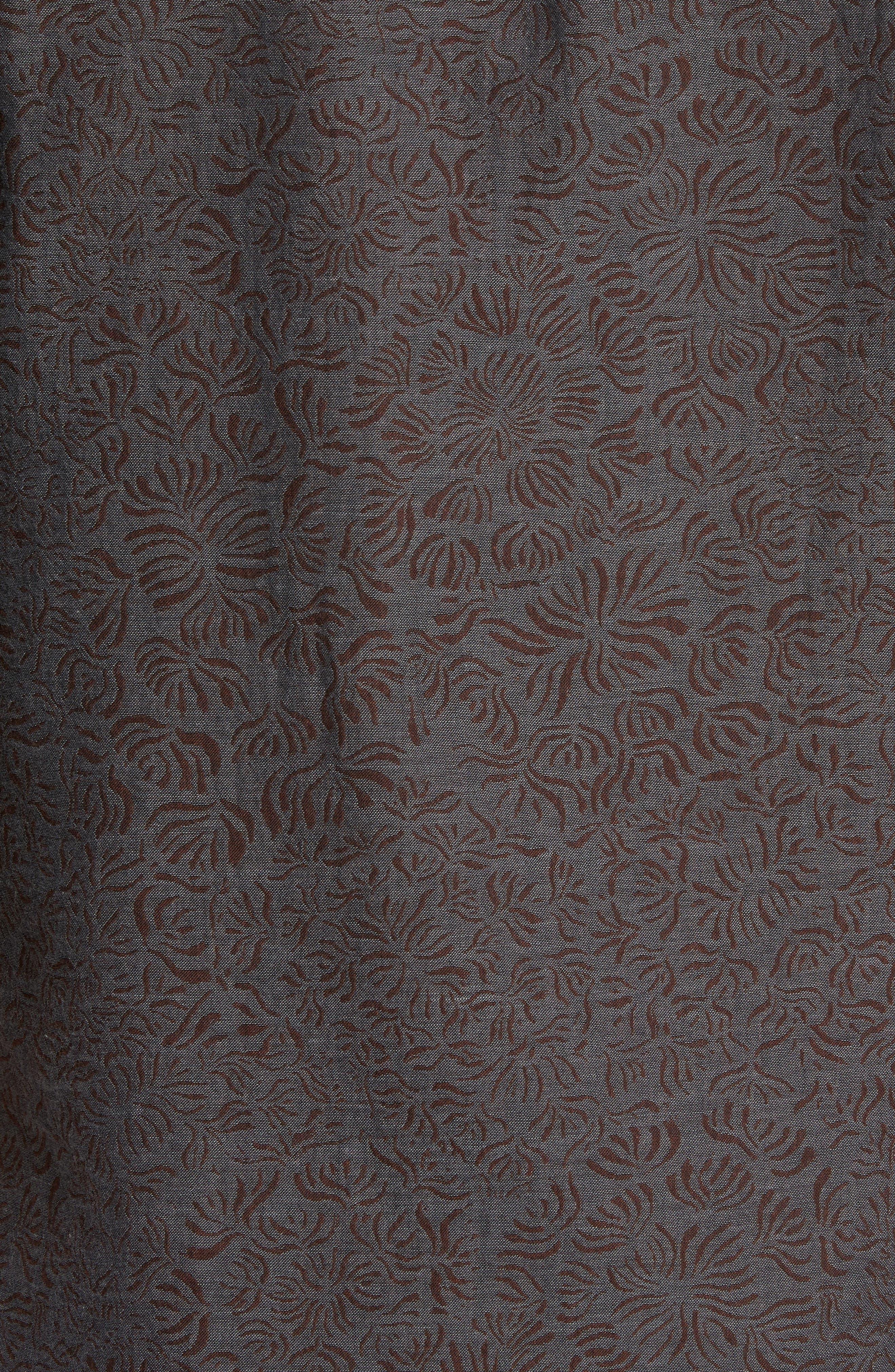 Kirby Slim Fit Jacquard Sport Shirt,                             Alternate thumbnail 5, color,                             Charcoal/ Burgundy