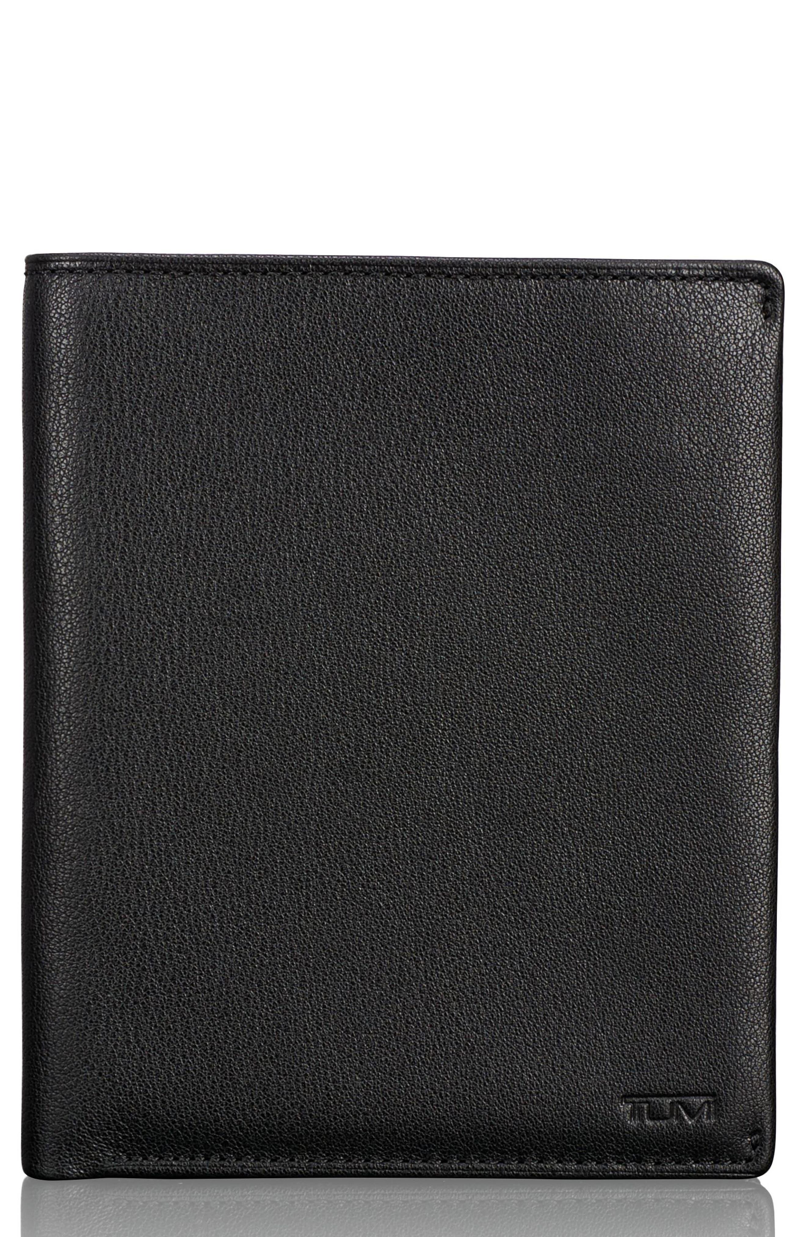 Leather Passport Case,                         Main,                         color, Black Textured