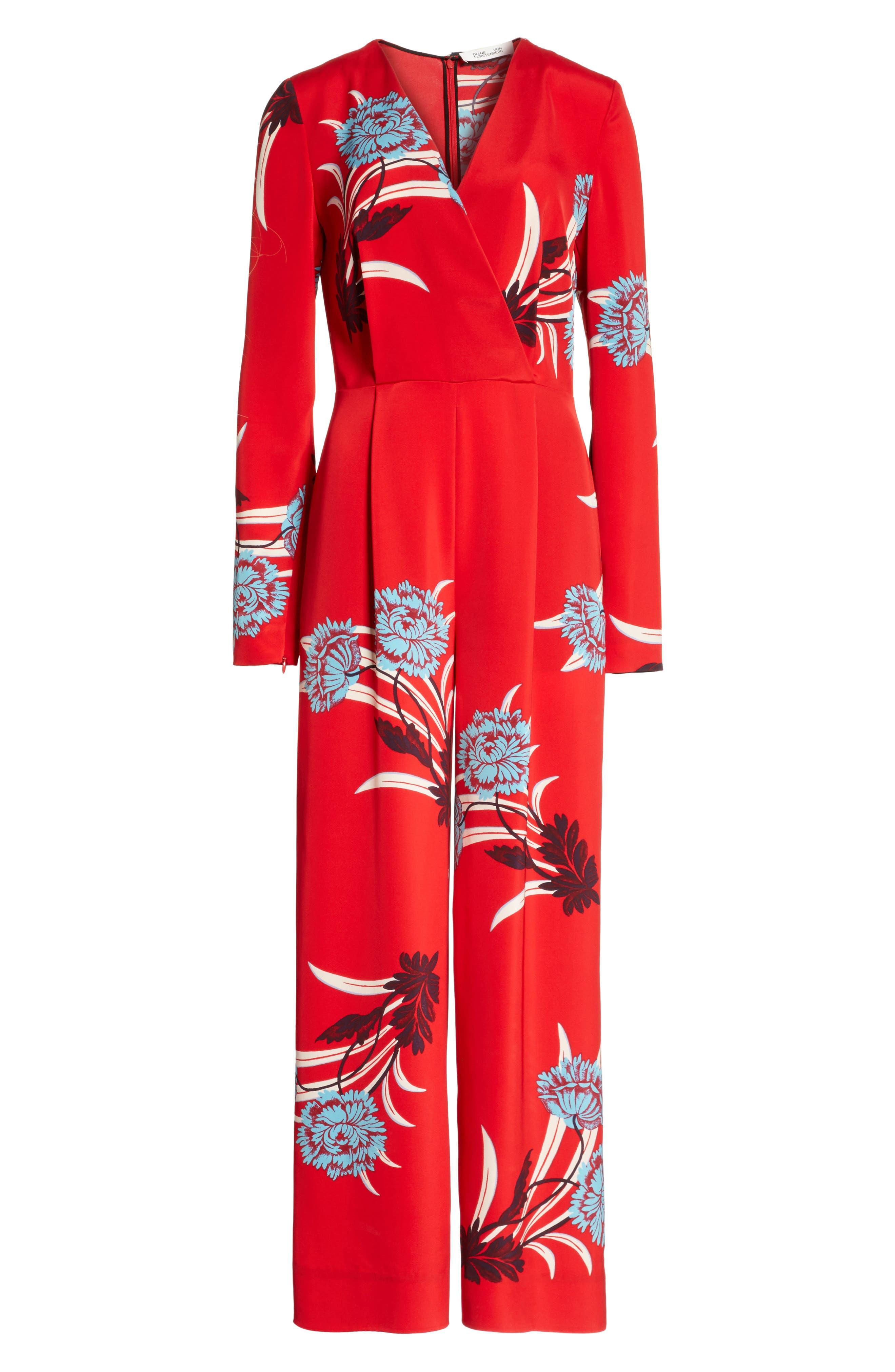 Alternate Image 6  - Diane von Furstenberg Floral Print Crossover Jumpsuit