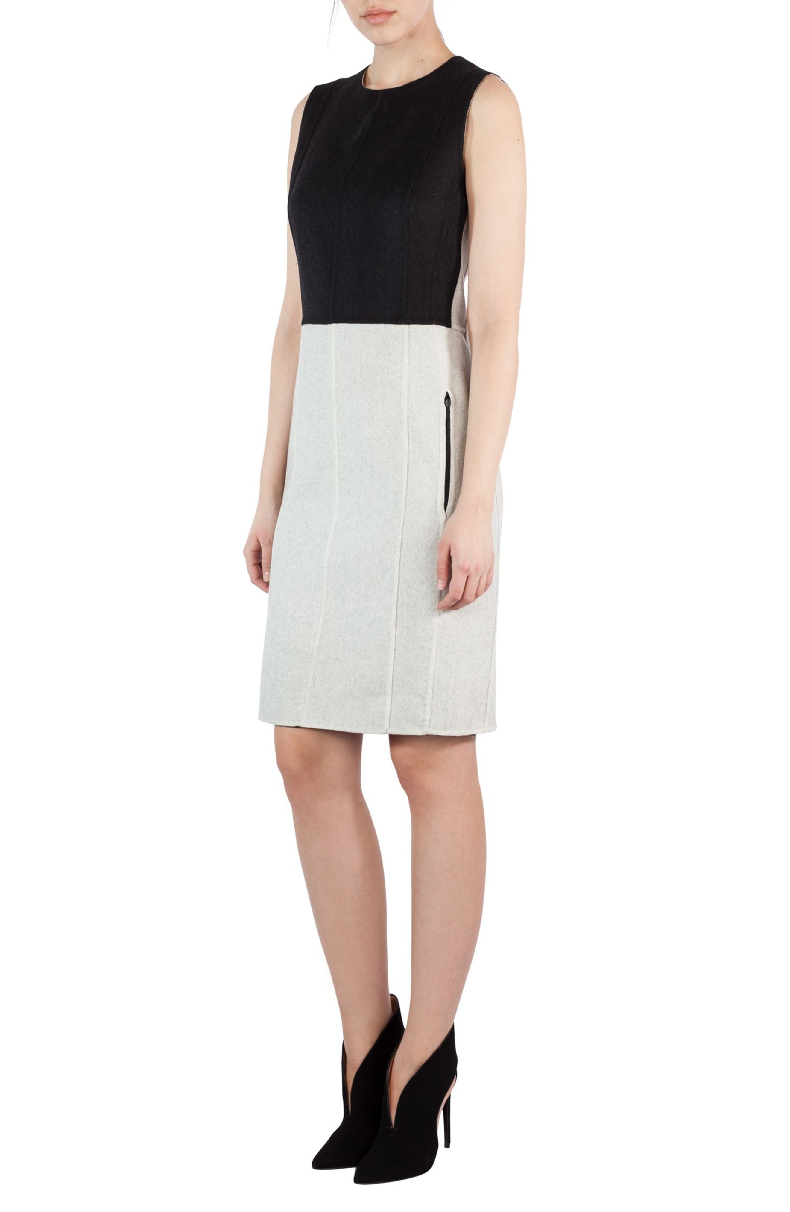 Double Face Wool Bicolor Reversible Dress,                             Alternate thumbnail 2, color,                             Black-Crema