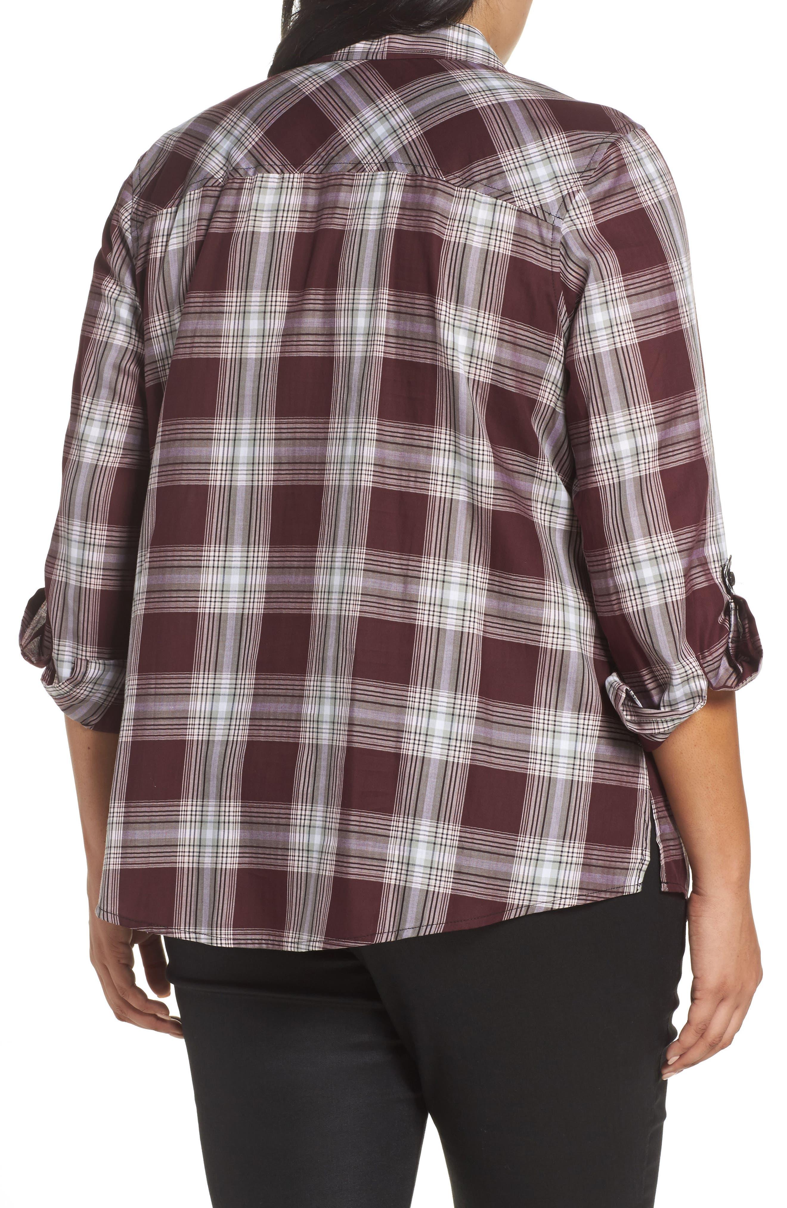 Alternate Image 2  - Foxcroft Addison Plaid Cotton Shirt (Plus Size)