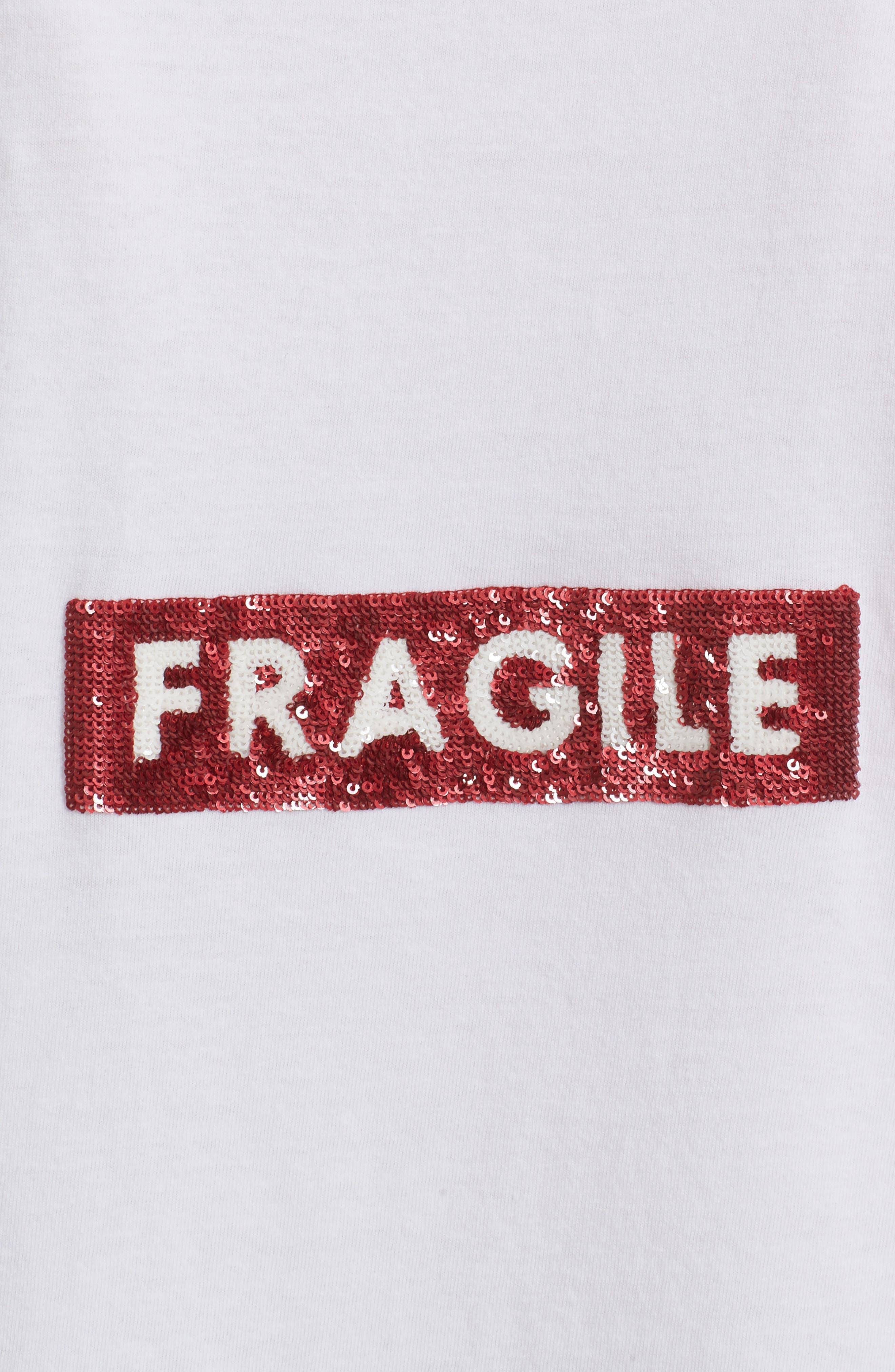 Fragile Sequin Back Logo Tee,                             Alternate thumbnail 5, color,                             White