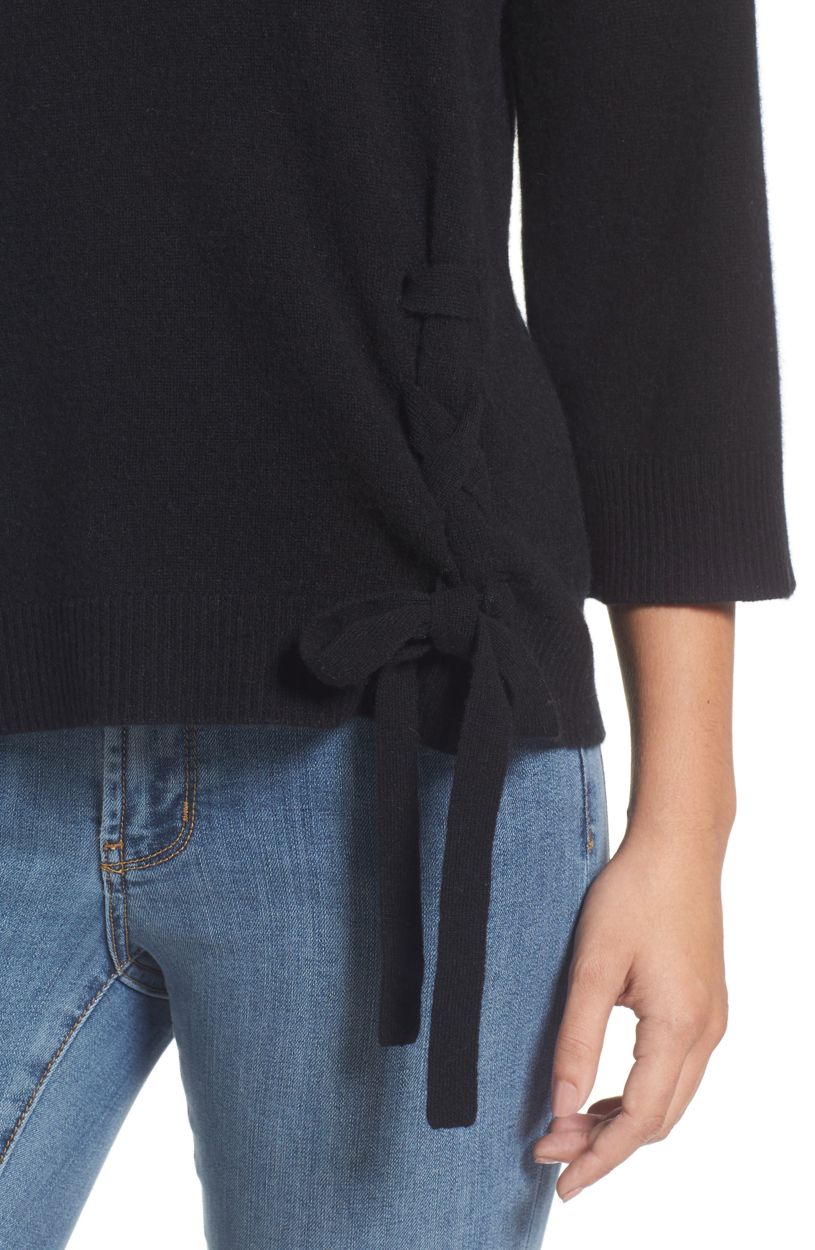 Side Tie Wool and Cashmere Sweater,                             Alternate thumbnail 4, color,                             Black