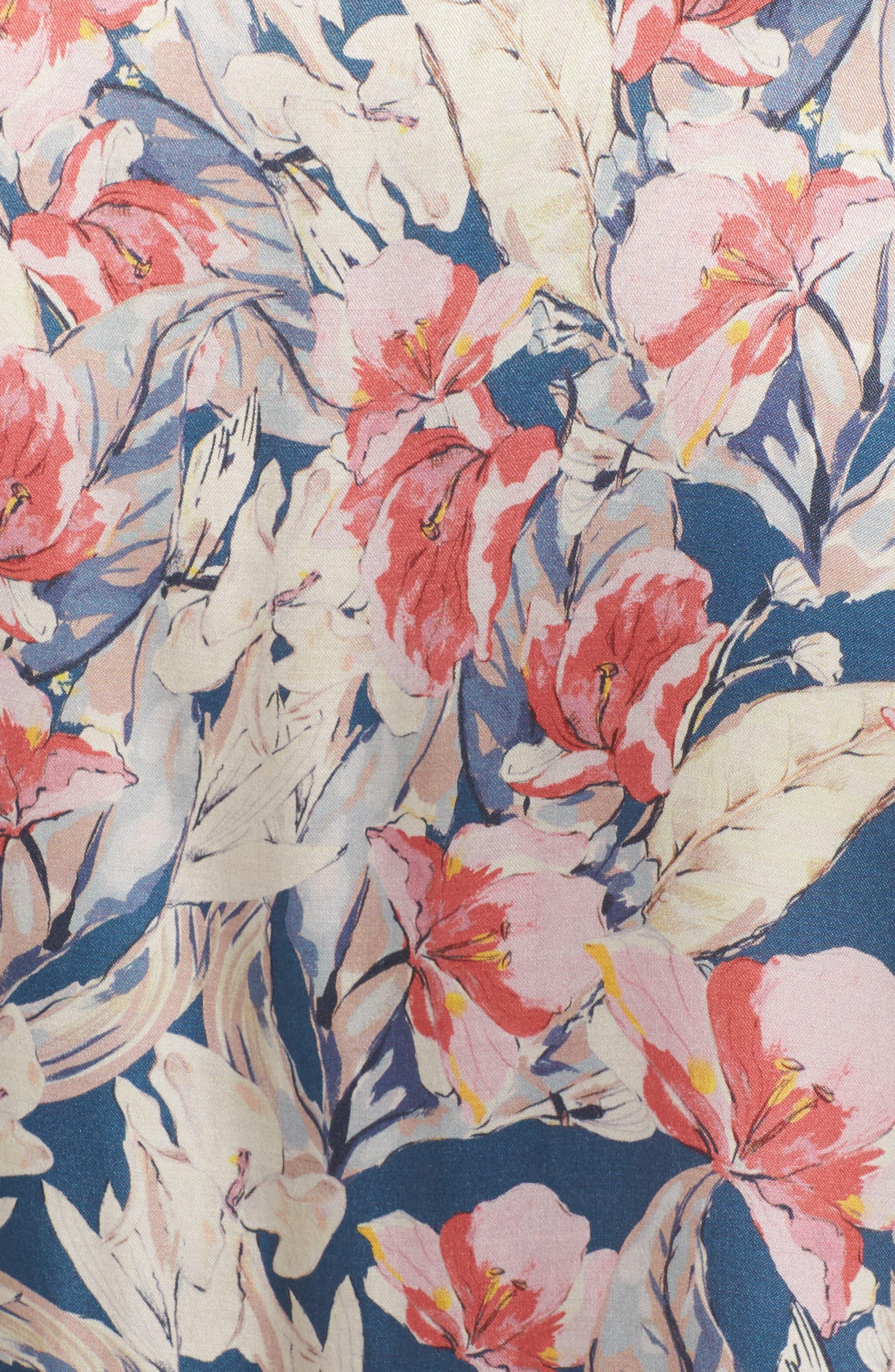 Lena Floral Print Top,                             Alternate thumbnail 5, color,                             Garden Floral