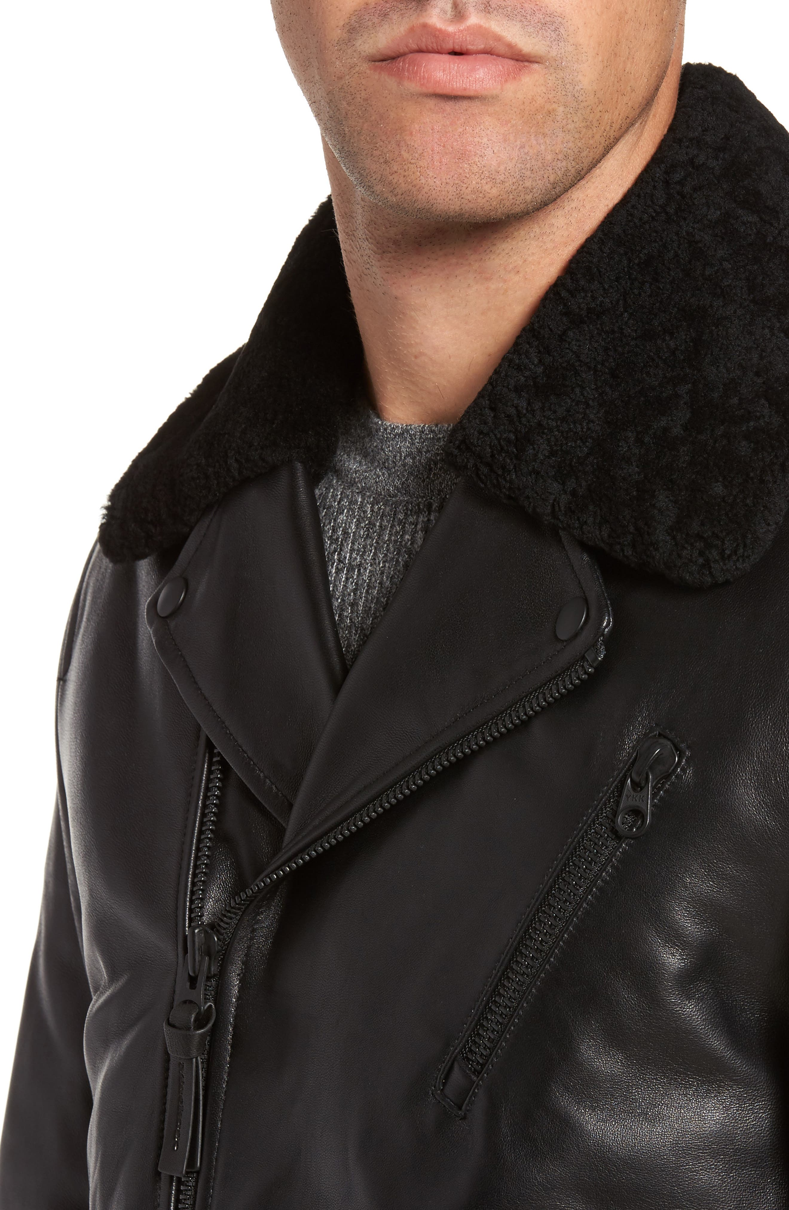 Lambskin Leather Down Jacket with Genuine Shearling Collar,                             Alternate thumbnail 4, color,                             Black