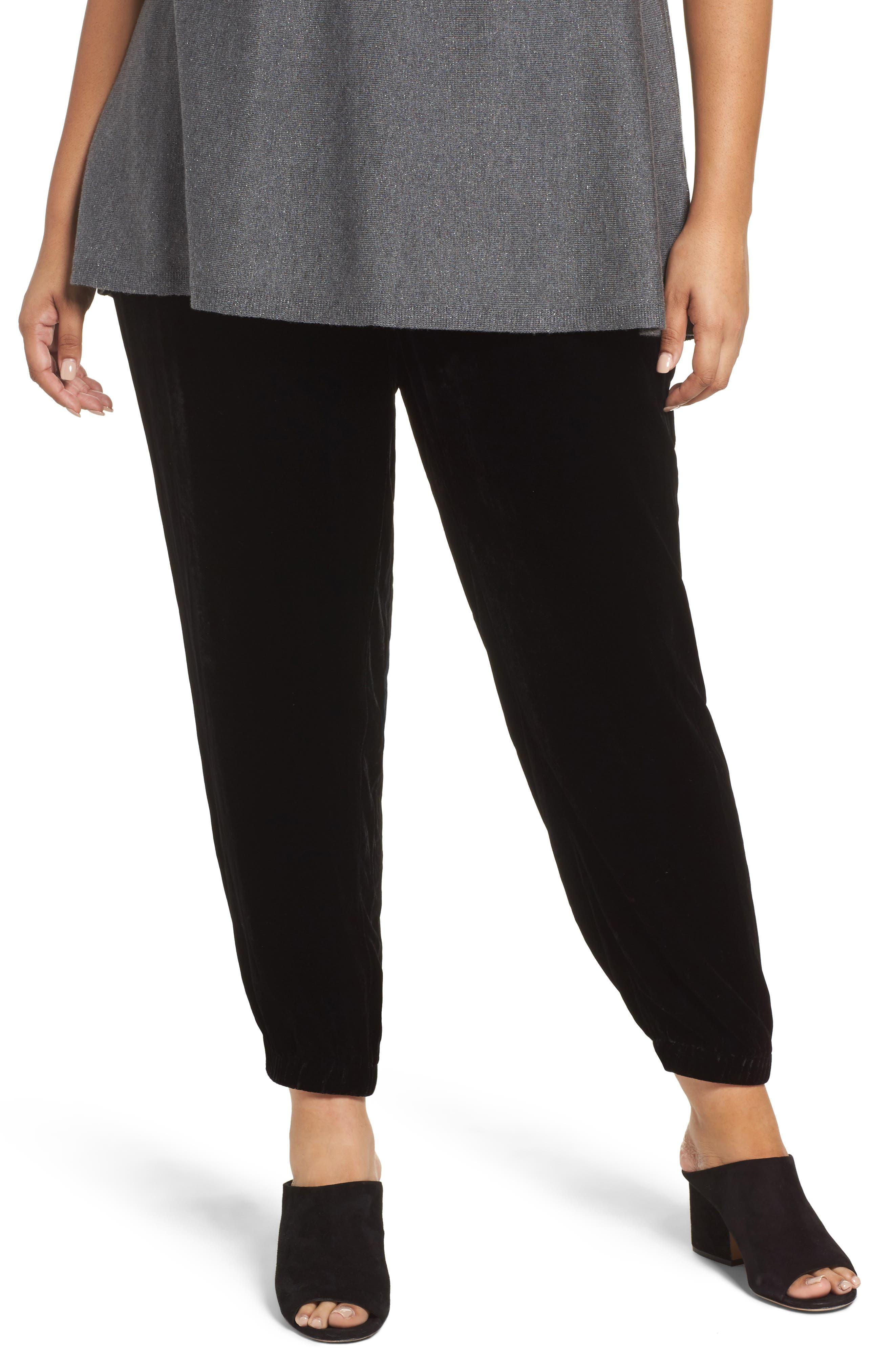 Velvet Ankle Pants,                         Main,                         color, Black