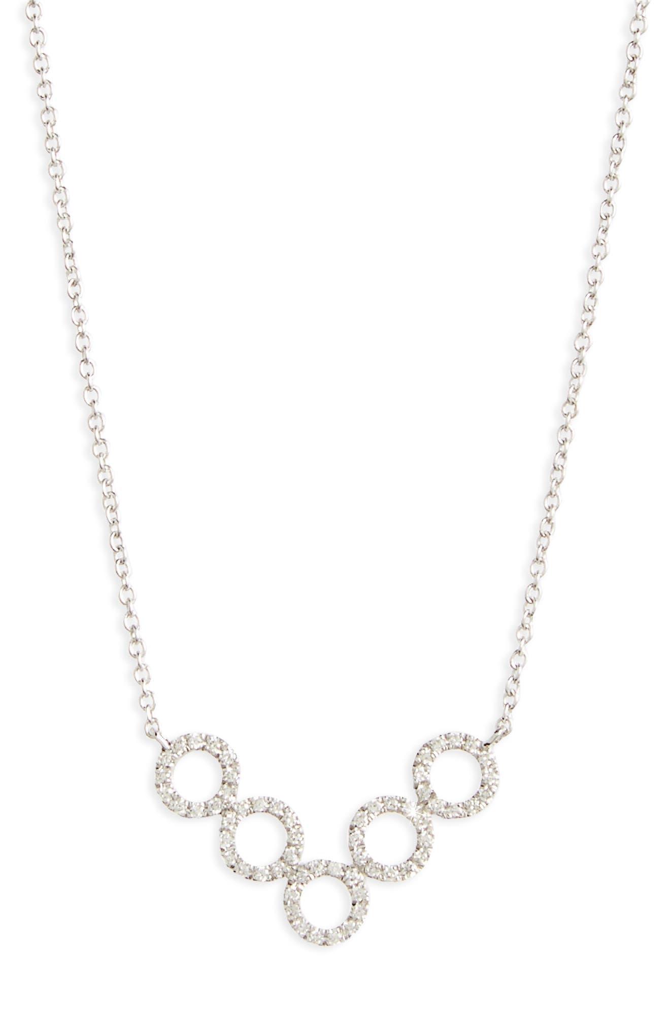 Geometric Circle Pendant Necklace,                             Alternate thumbnail 2, color,                             White Gold