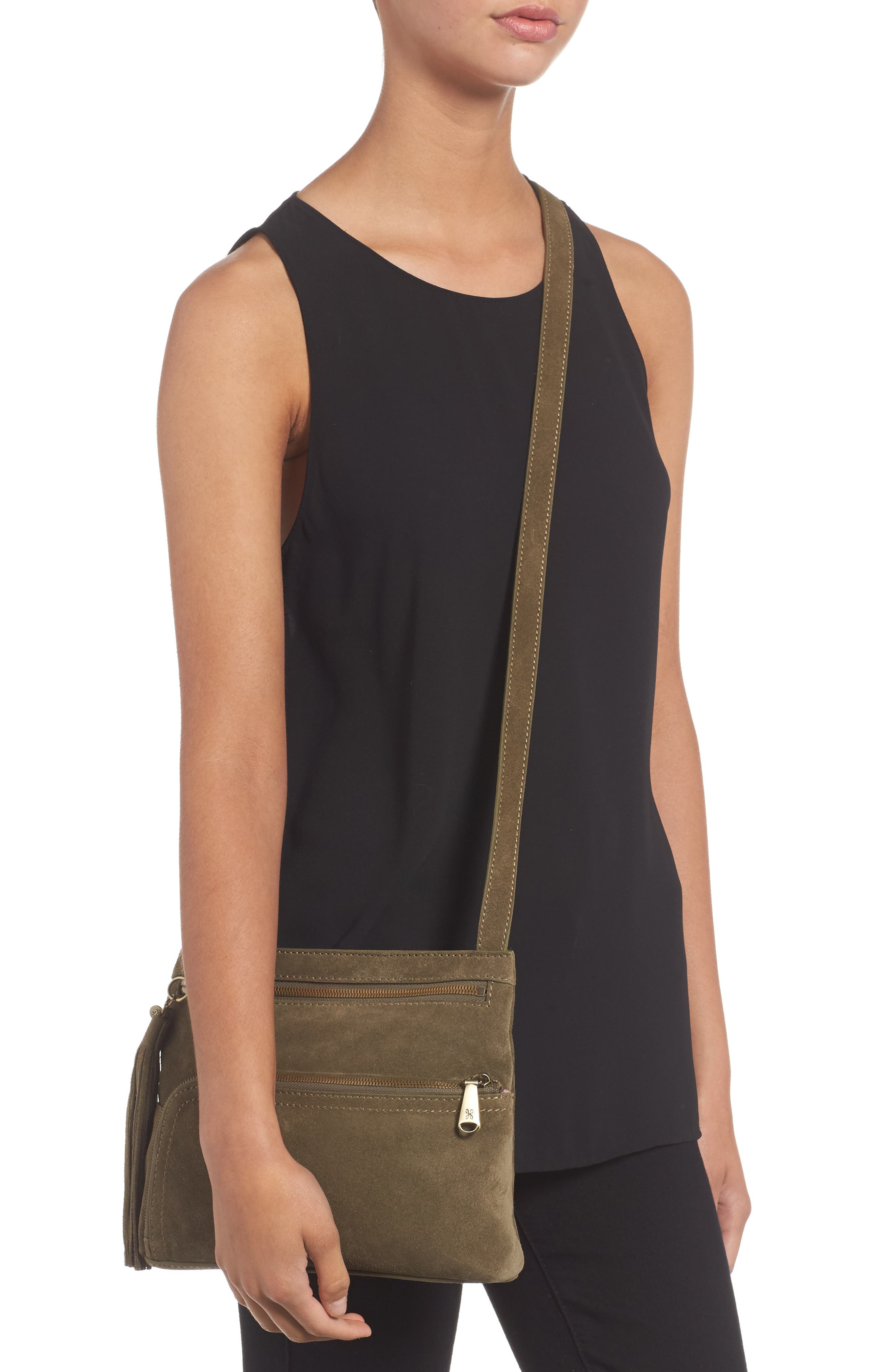 Cassie Calfskin Suede Crossbody Bag,                             Alternate thumbnail 2, color,                             Sage