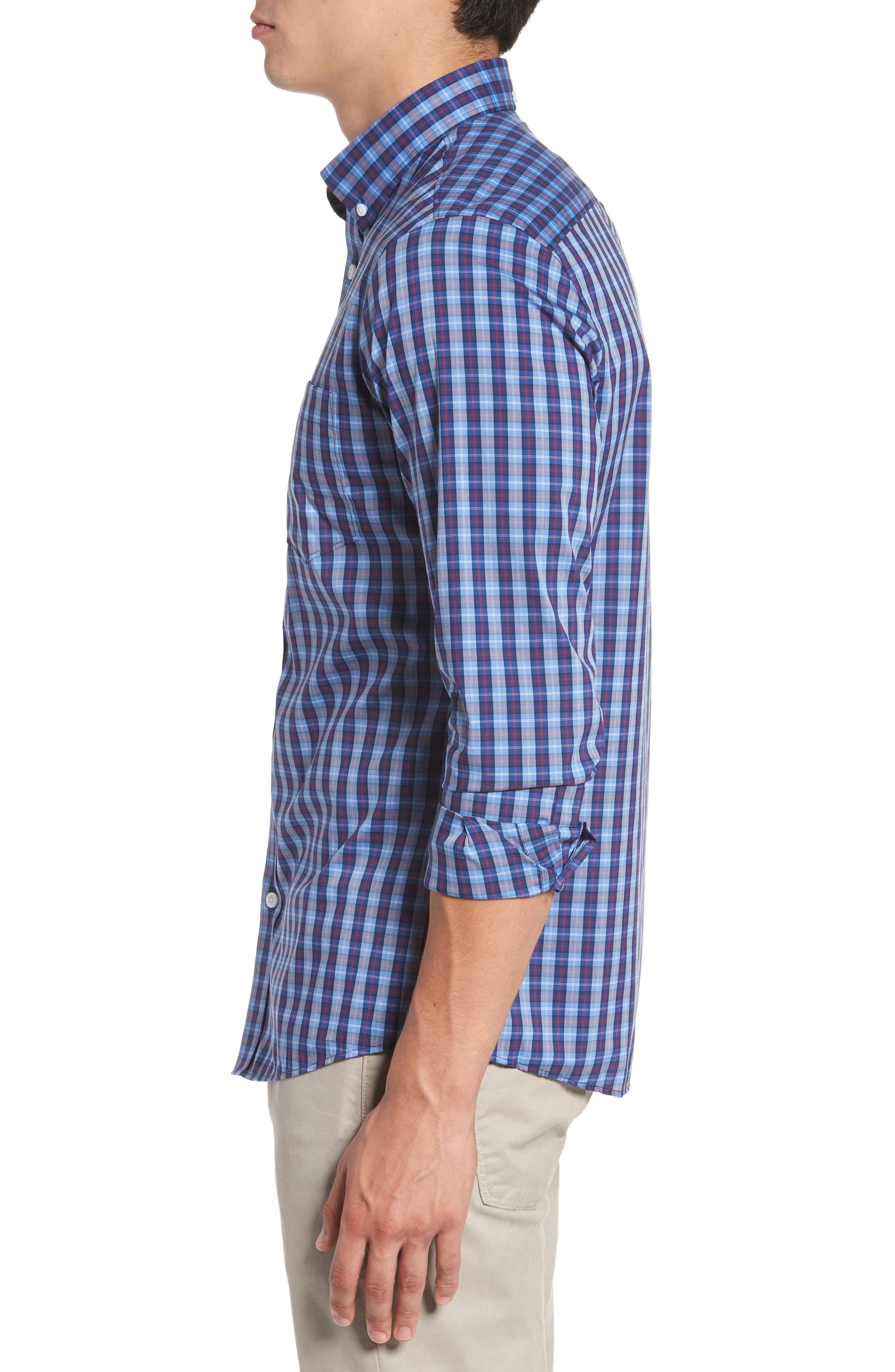 Trim Fit Tech-Smart Plaid Sport Shirt,                             Alternate thumbnail 3, color,                             Blue Hydrangea Navy Plaid