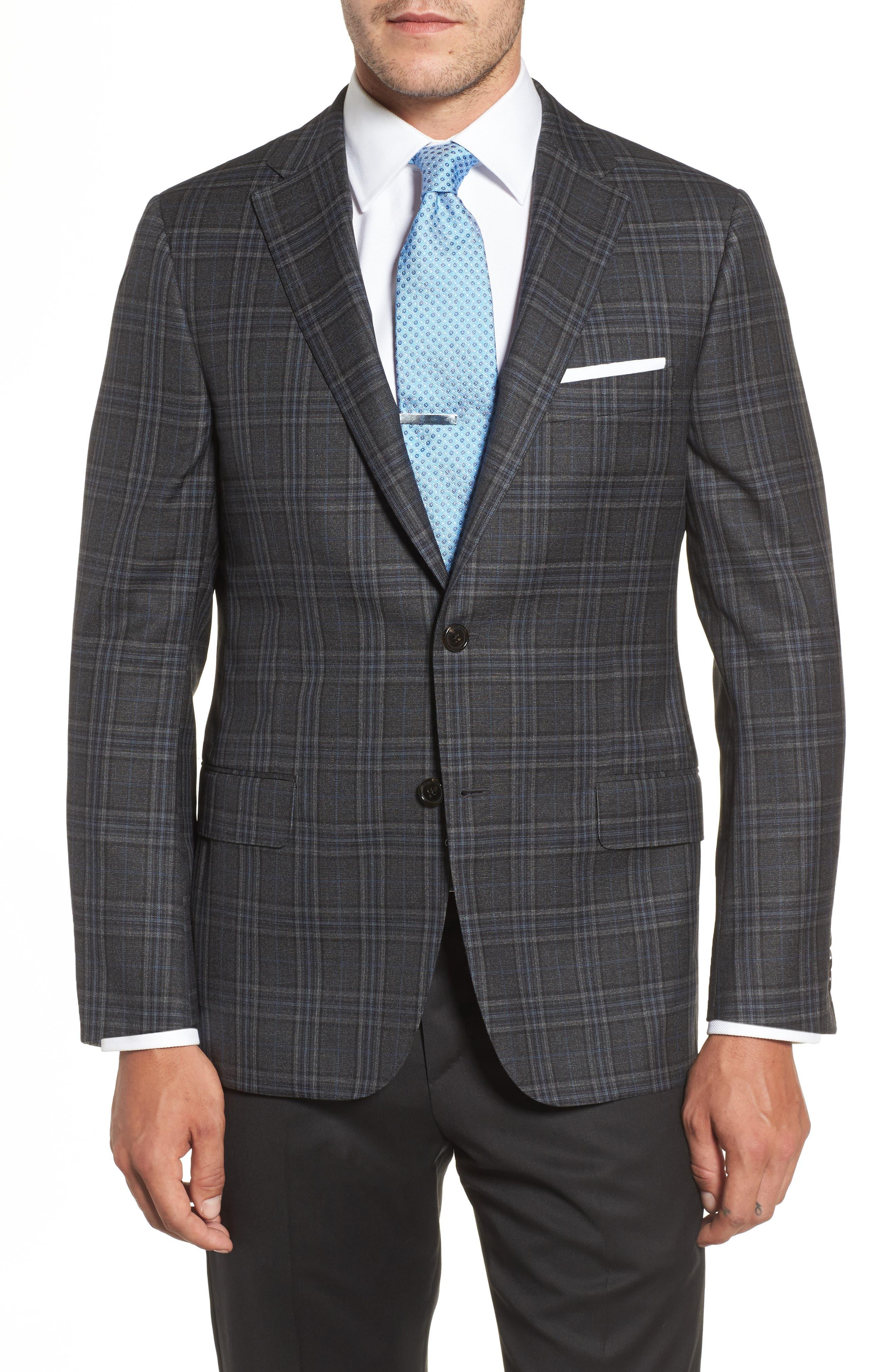 Classic B Fit Plaid Wool Sport Coat,                             Main thumbnail 1, color,                             Dark Grey