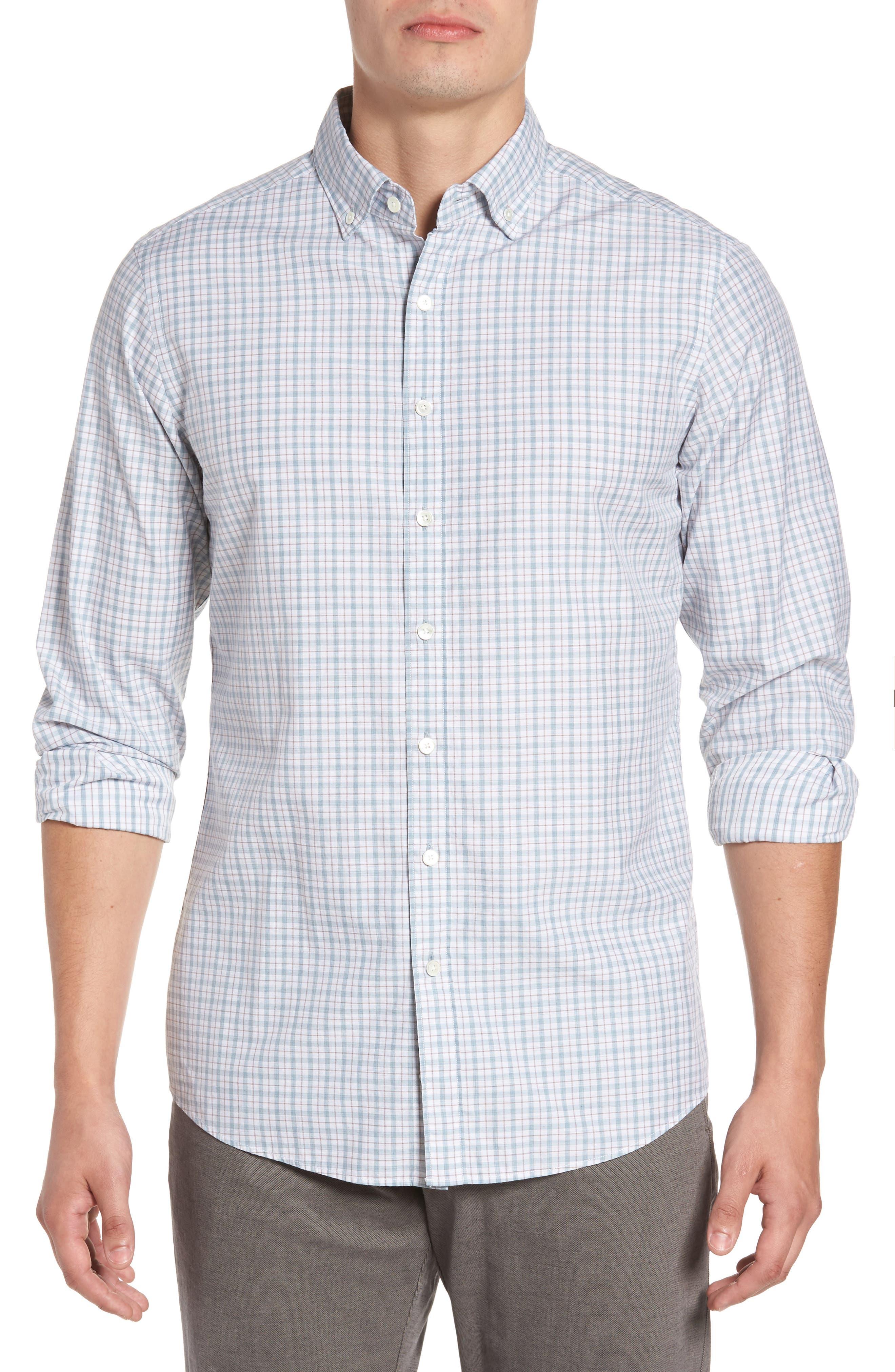 Carterton Sports Fit Plaid Sport Shirt,                         Main,                         color, Stonewash