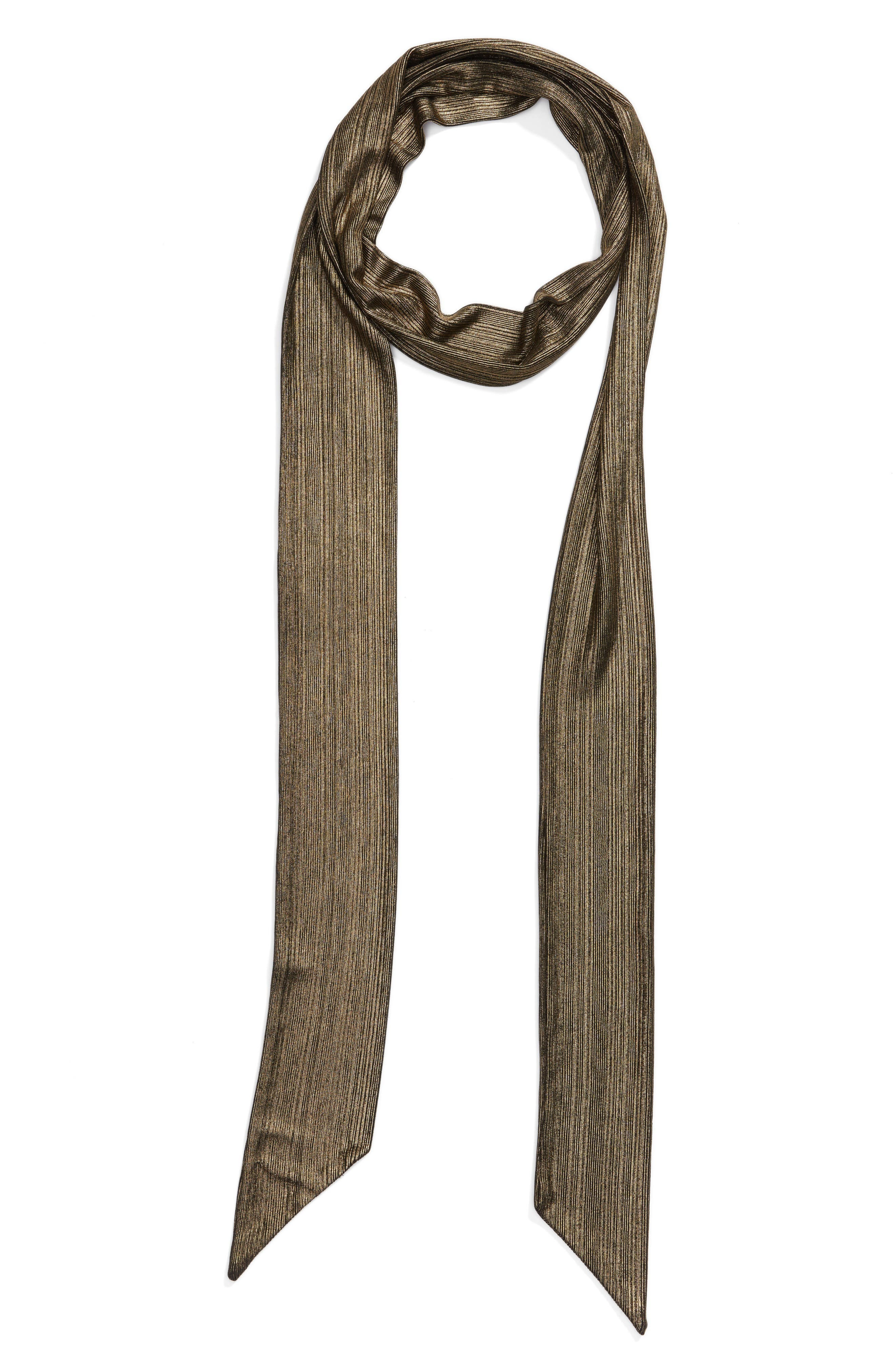 Lamé Skinny Scarf,                             Alternate thumbnail 3, color,                             Gold