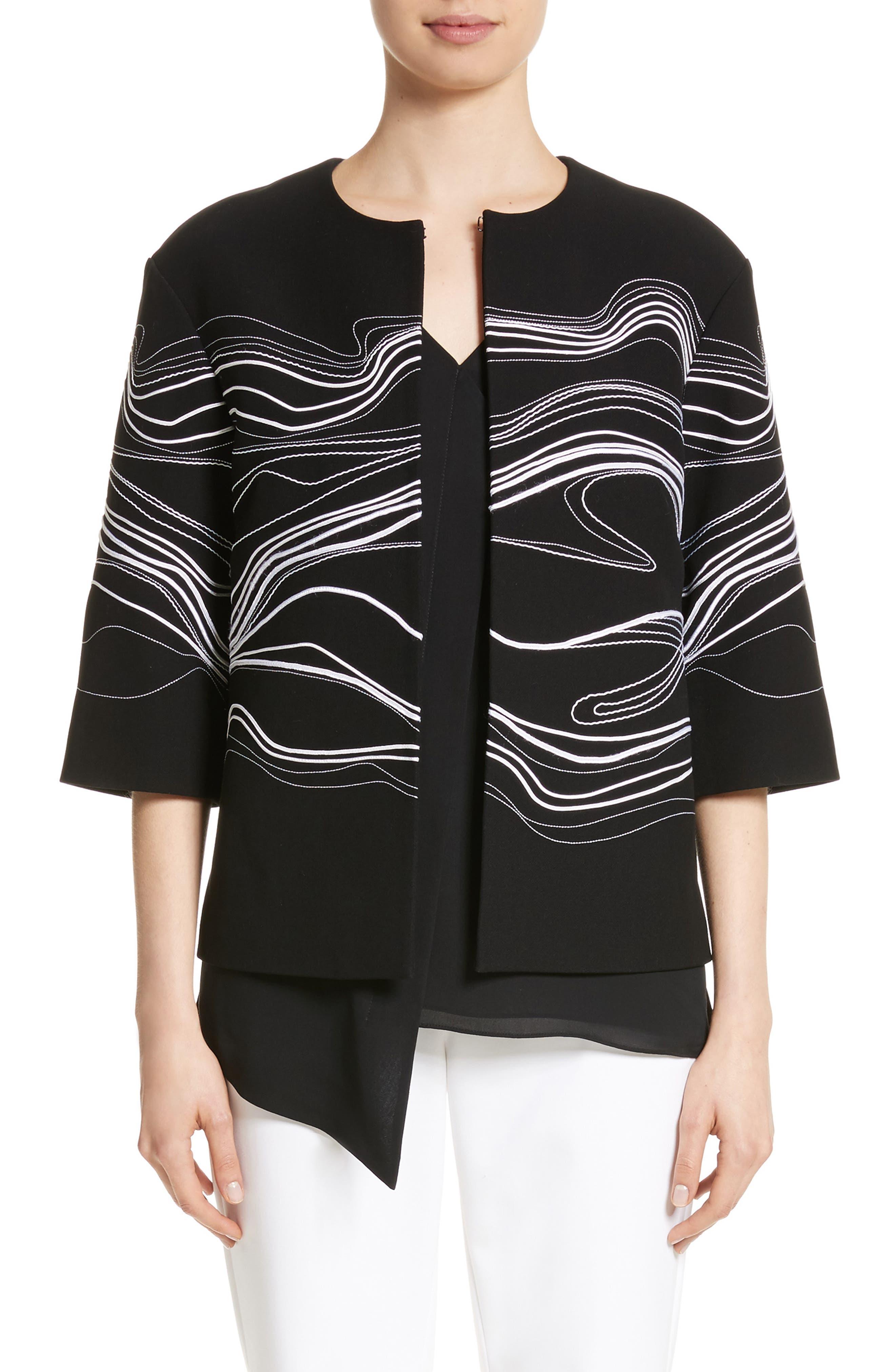 Bella Brushstroke Double Weave Jacket,                             Main thumbnail 1, color,                             Caviar/ Bianco