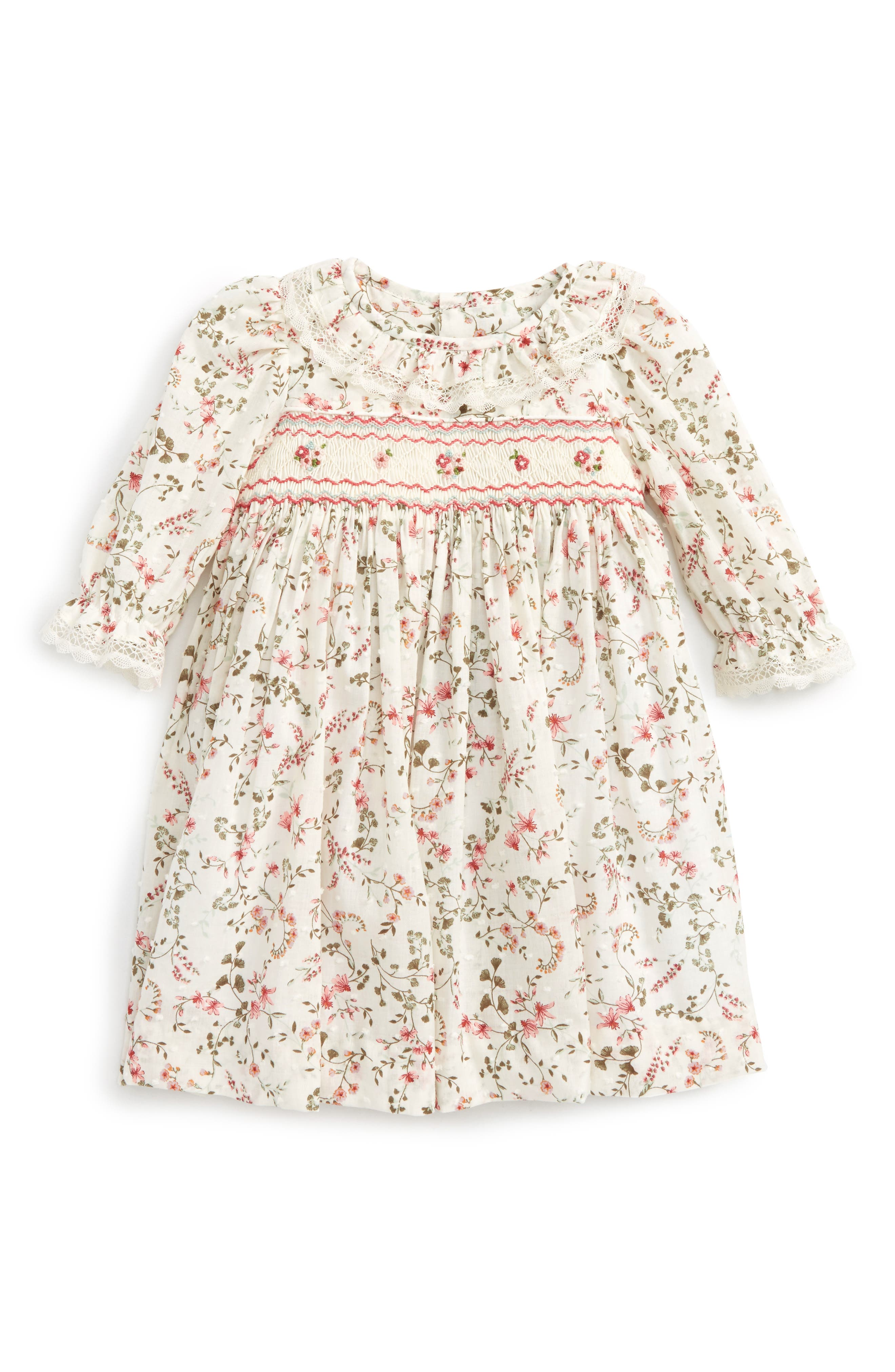 Alternate Image 1 Selected - Luli & Me Floral Print Plumetis Smocked Dress (Baby Girls)