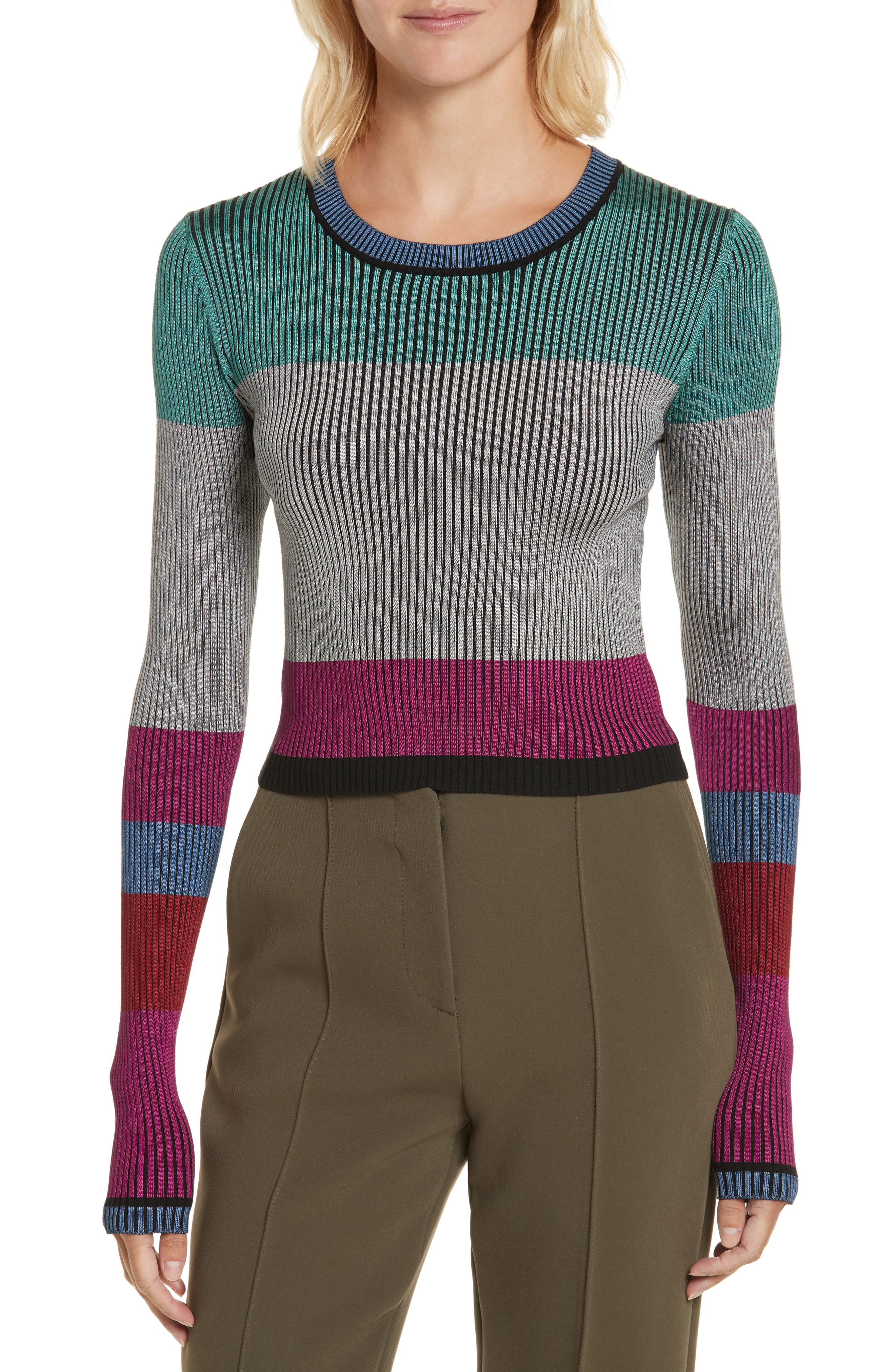 Diane von Furstenberg Cropped Plaited Pullover,                             Main thumbnail 1, color,                             Ribbon Pink Multi