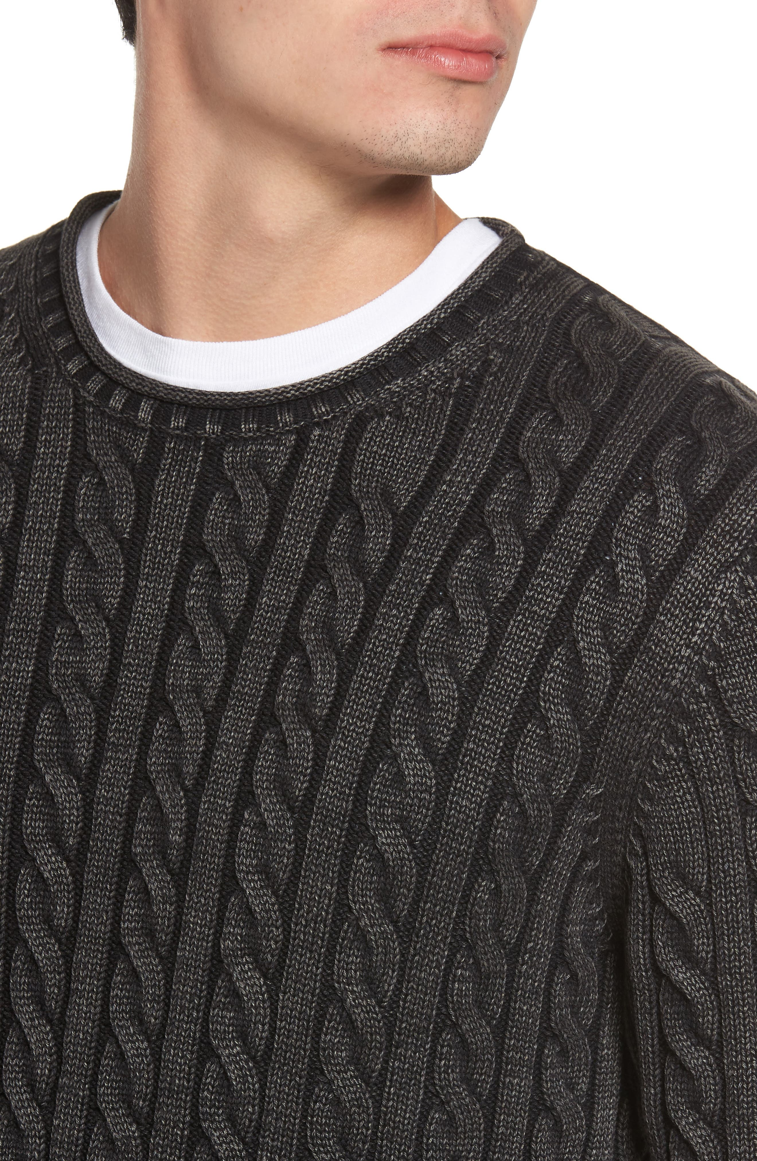 Landray Cable Knit Cotton Sweater,                             Alternate thumbnail 4, color,                             Charcoal