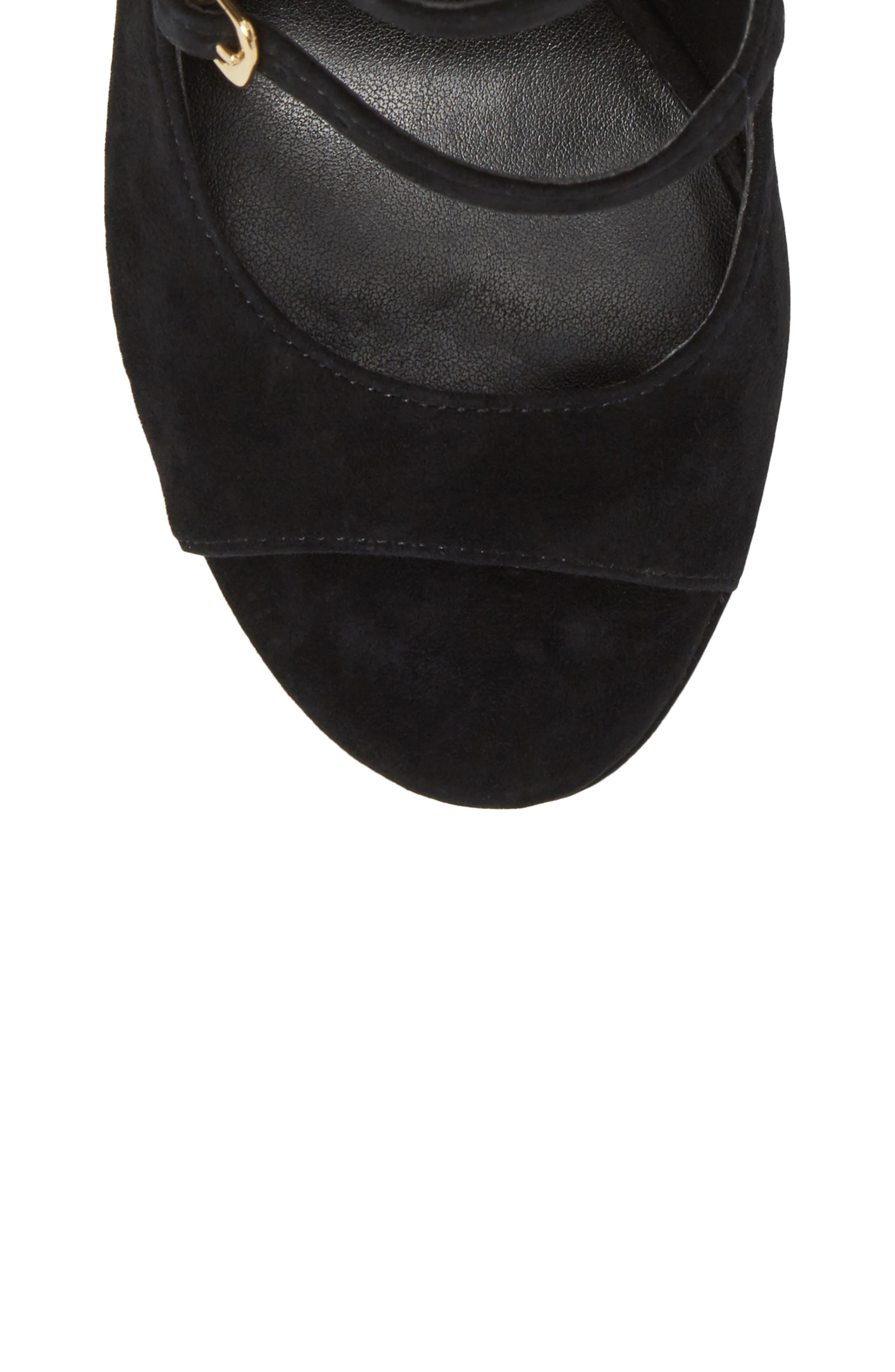 M4D3 Affair Cage Sandal,                             Alternate thumbnail 5, color,                             Black Leather