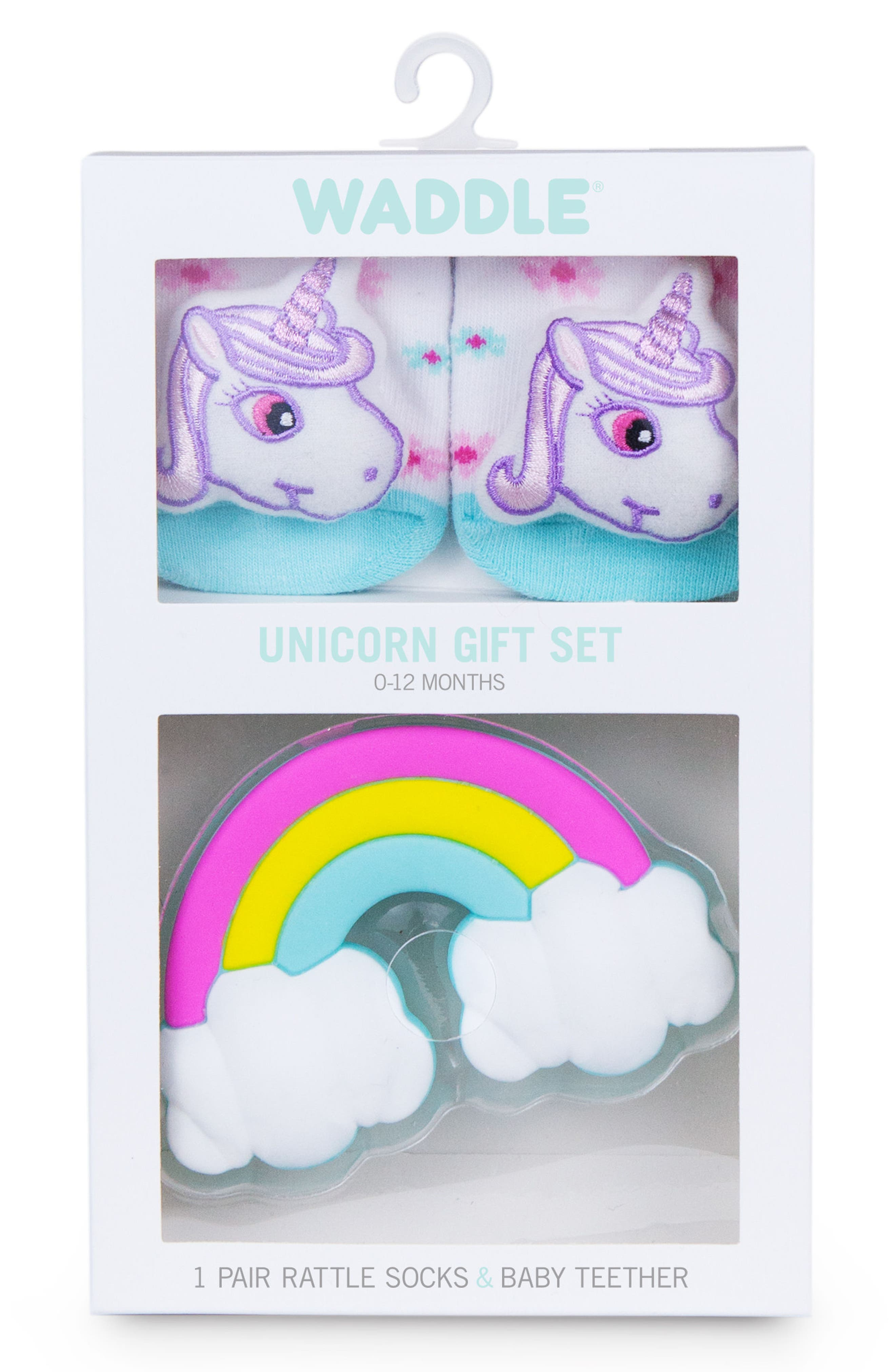 & Friends Unicorn Rattle Socks & Teether Gift Set,                             Alternate thumbnail 3, color,                             White