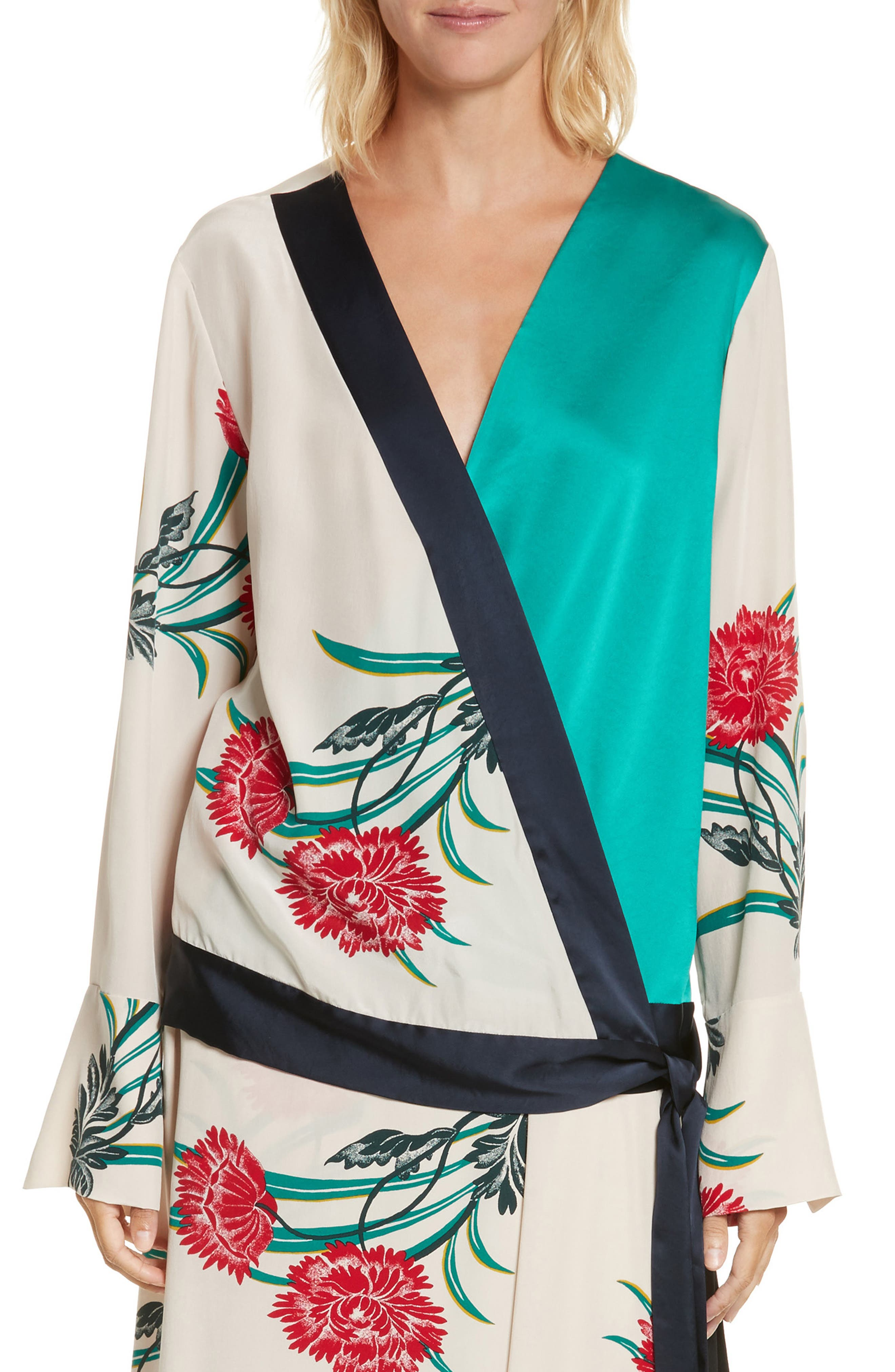 Diane von Furstenberg Bell Sleeve Crossover Silk Blouse,                             Main thumbnail 1, color,                             Farren Pearl/ Alex Navy/ Jade