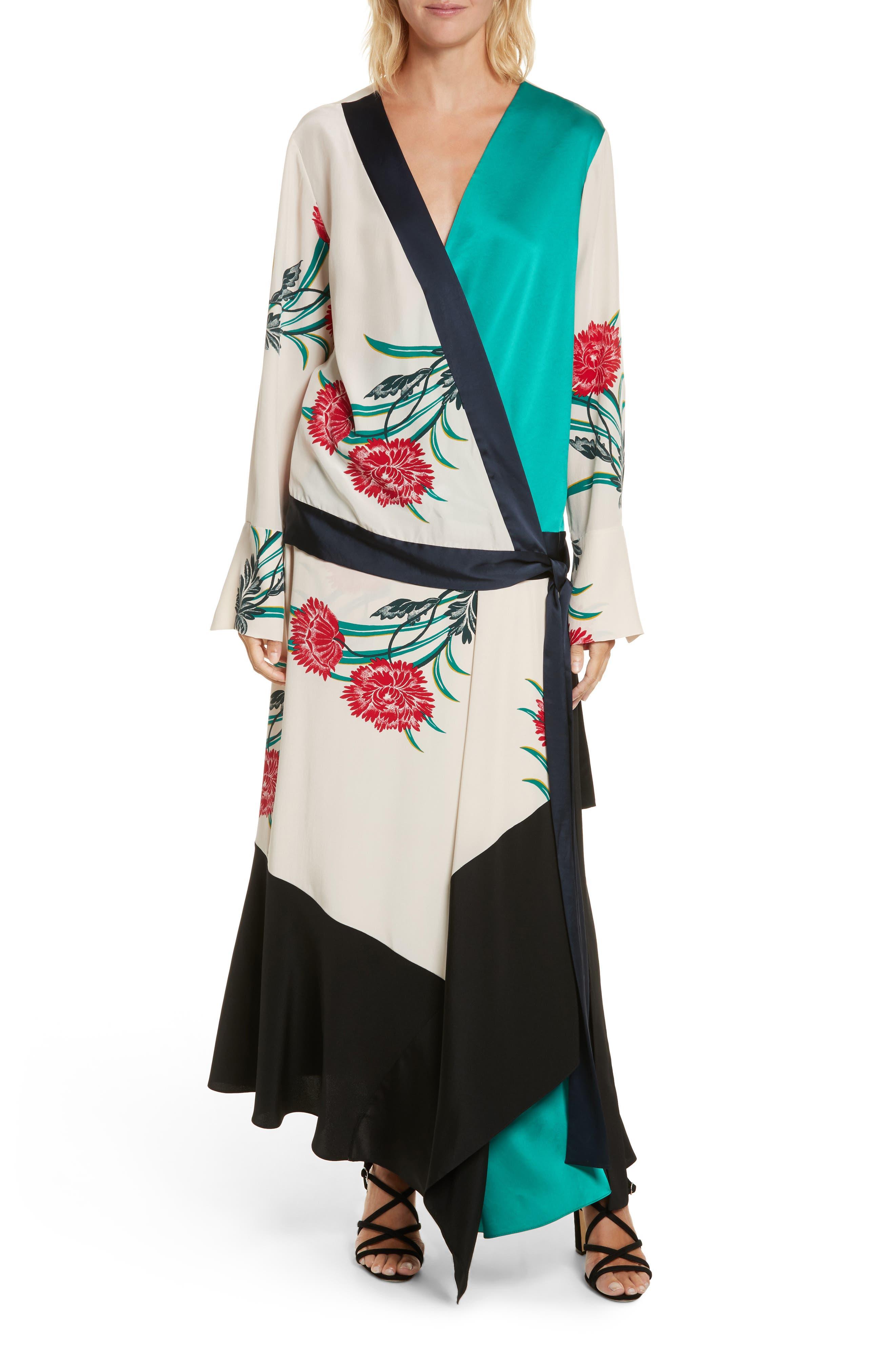 Diane von Furstenberg Bell Sleeve Crossover Silk Blouse,                             Alternate thumbnail 6, color,                             Farren Pearl/ Alex Navy/ Jade
