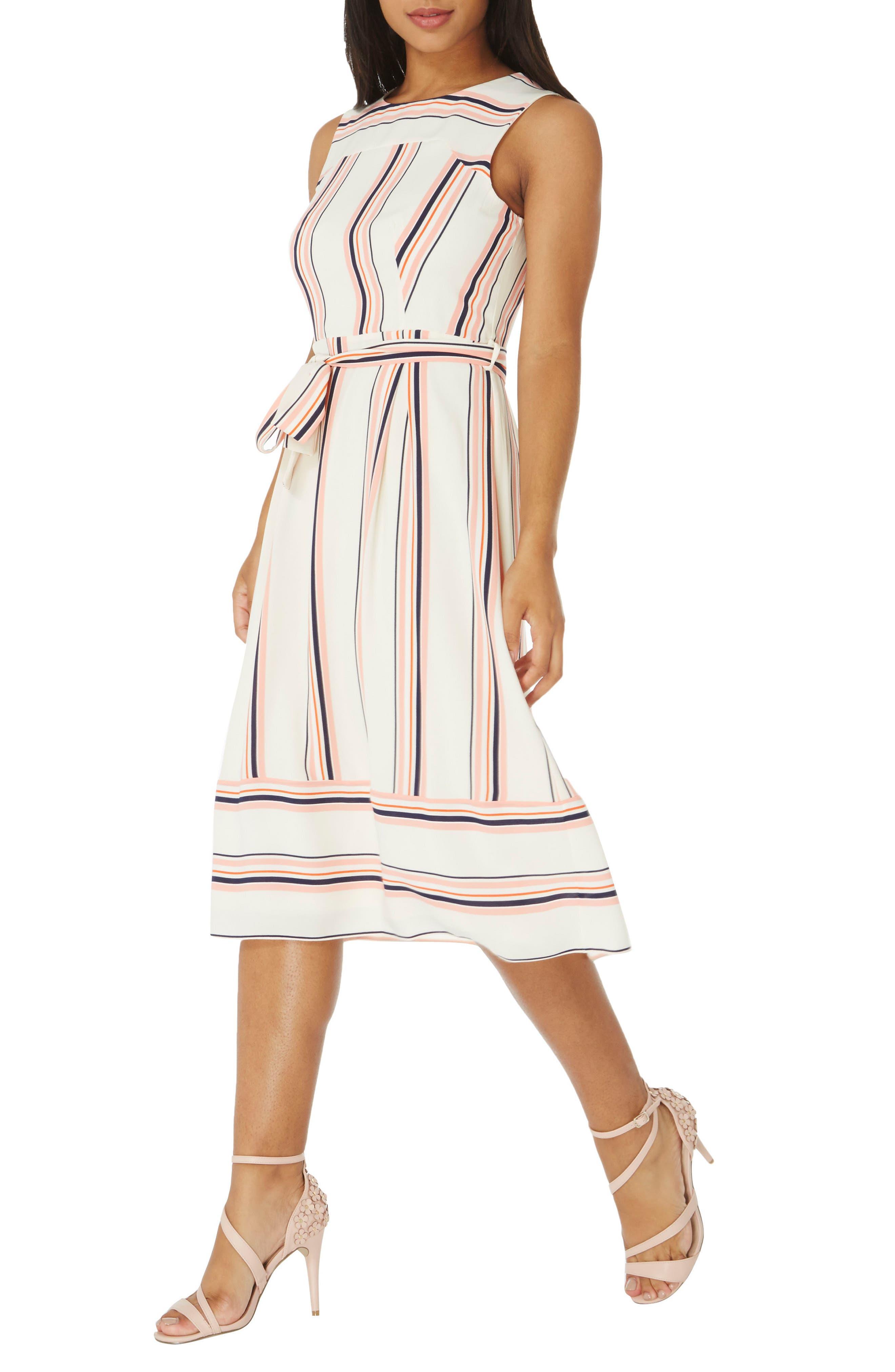 Stripe Midi Dress,                         Main,                         color, White