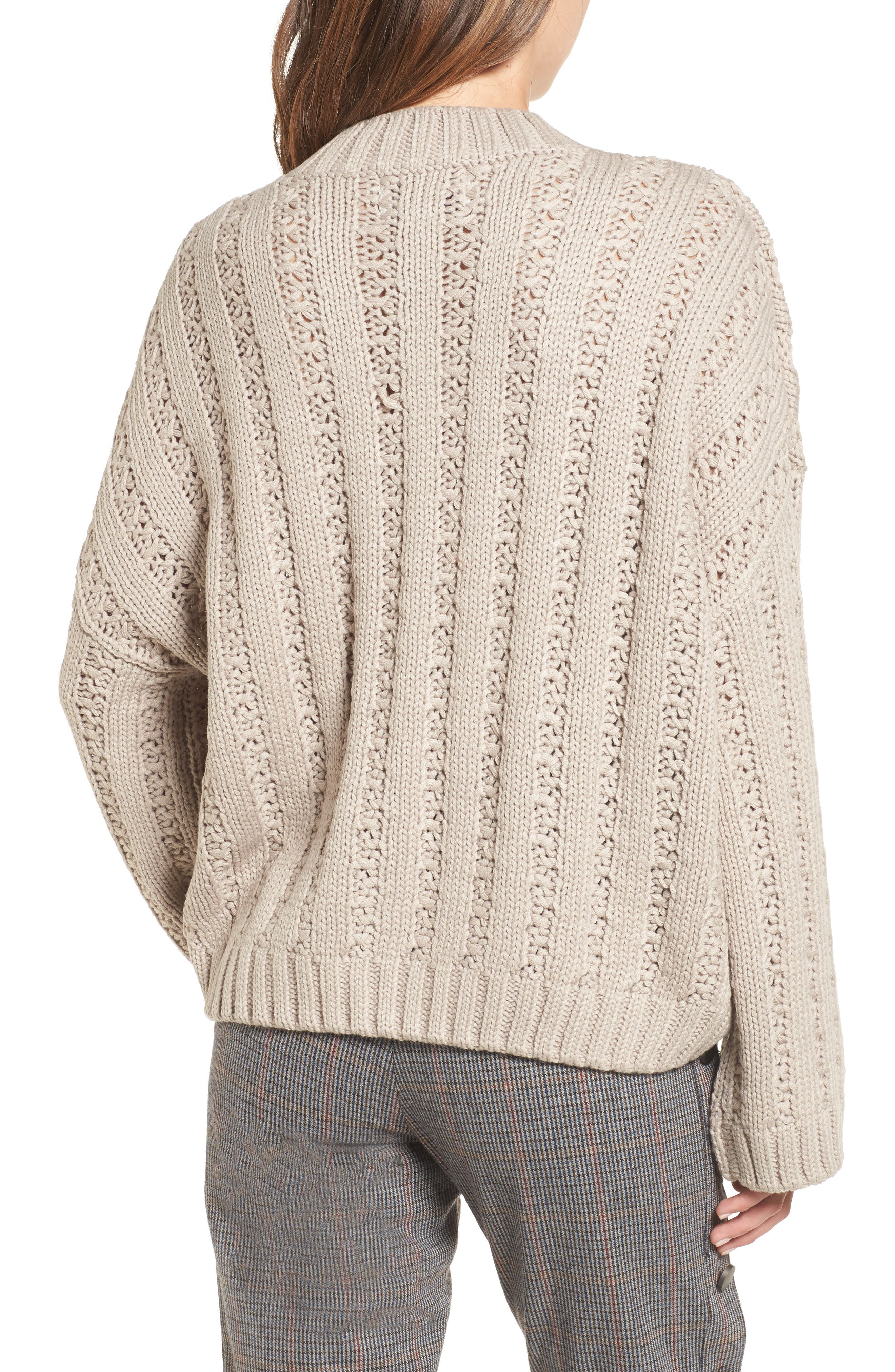 Chunky Textured Sweater,                             Alternate thumbnail 2, color,                             Heather Grey