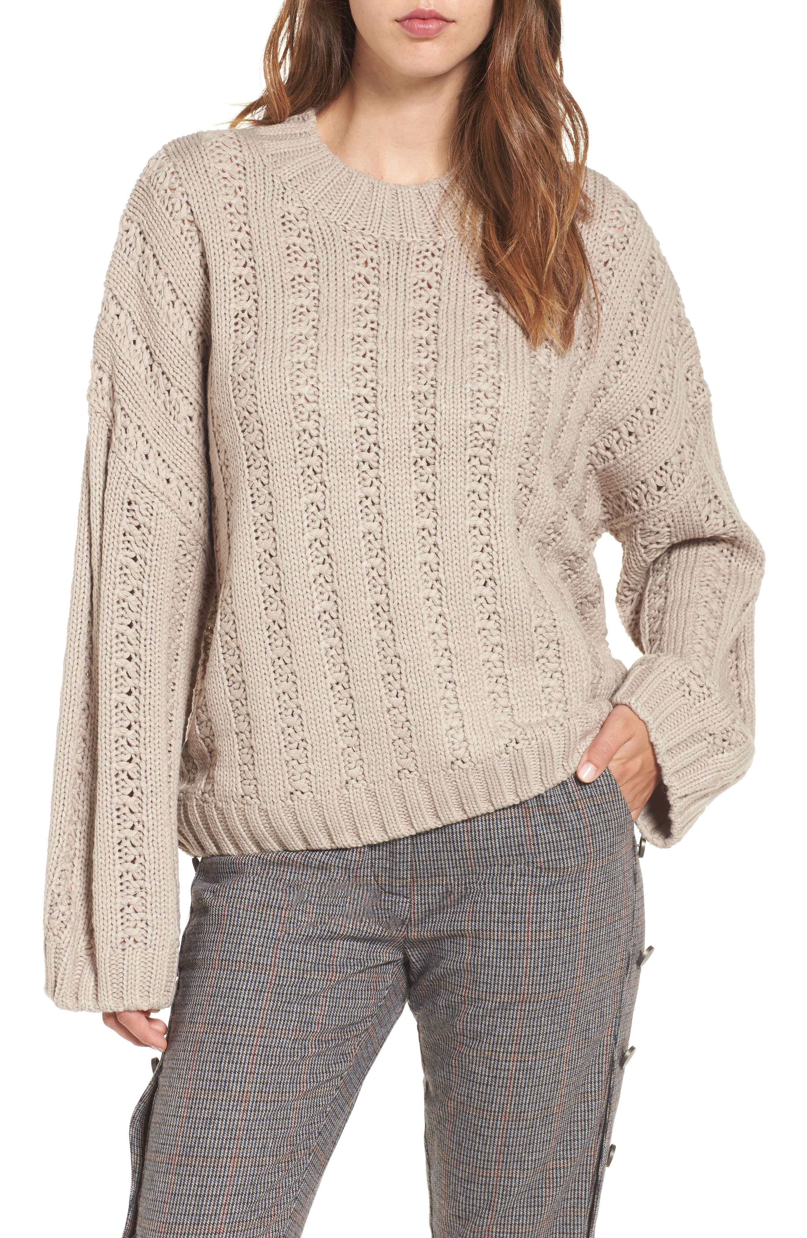 Chunky Textured Sweater,                         Main,                         color, Heather Grey