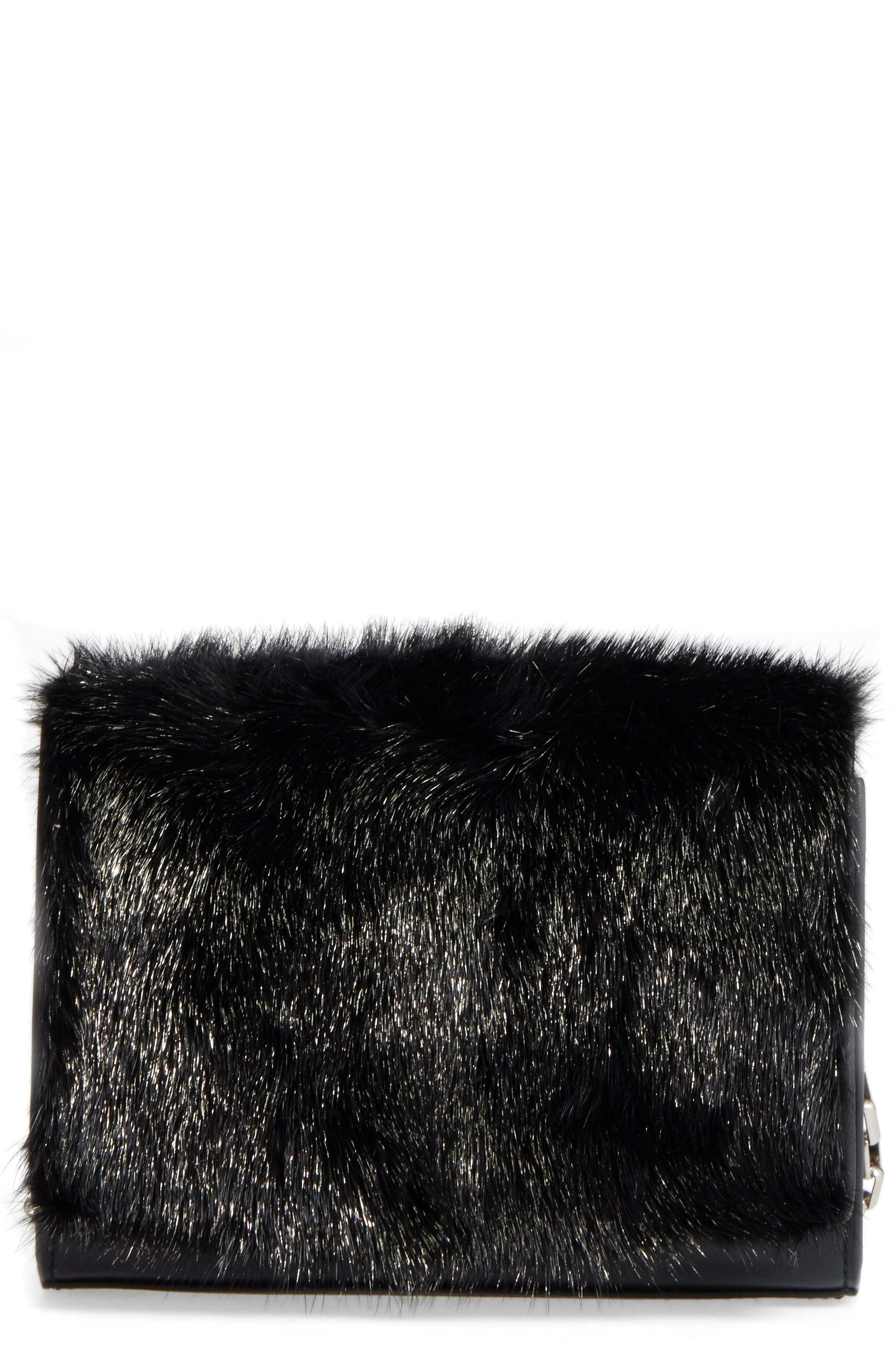 Yasmin Genuine Mink Fur Clutch,                             Main thumbnail 1, color,                             Black