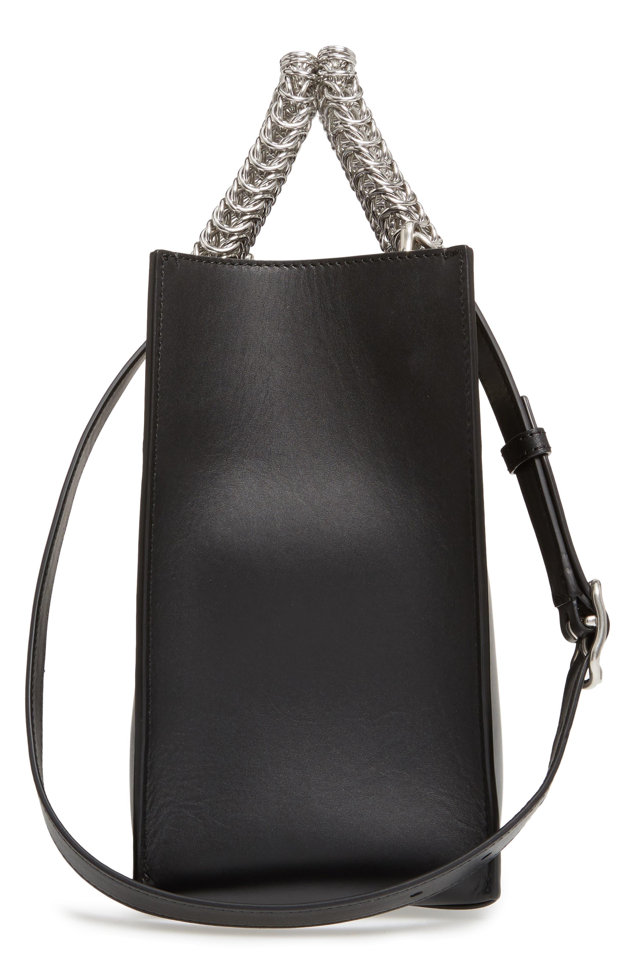 Genesis Box Chain Square Leather Shopper,                             Alternate thumbnail 3, color,                             Black