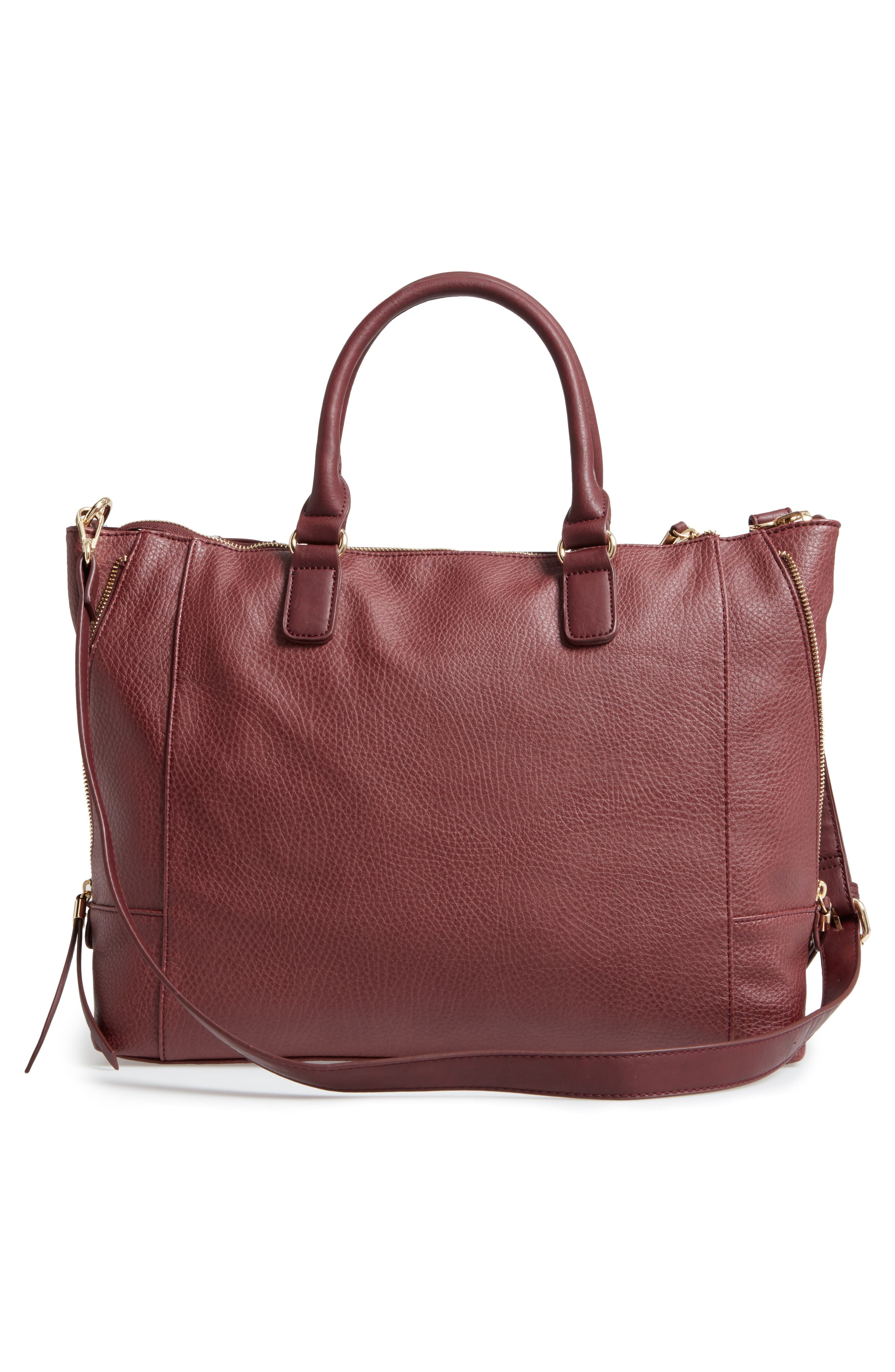 'Susan' Winged Faux Leather Tote,                             Alternate thumbnail 3, color,                             Oxblood