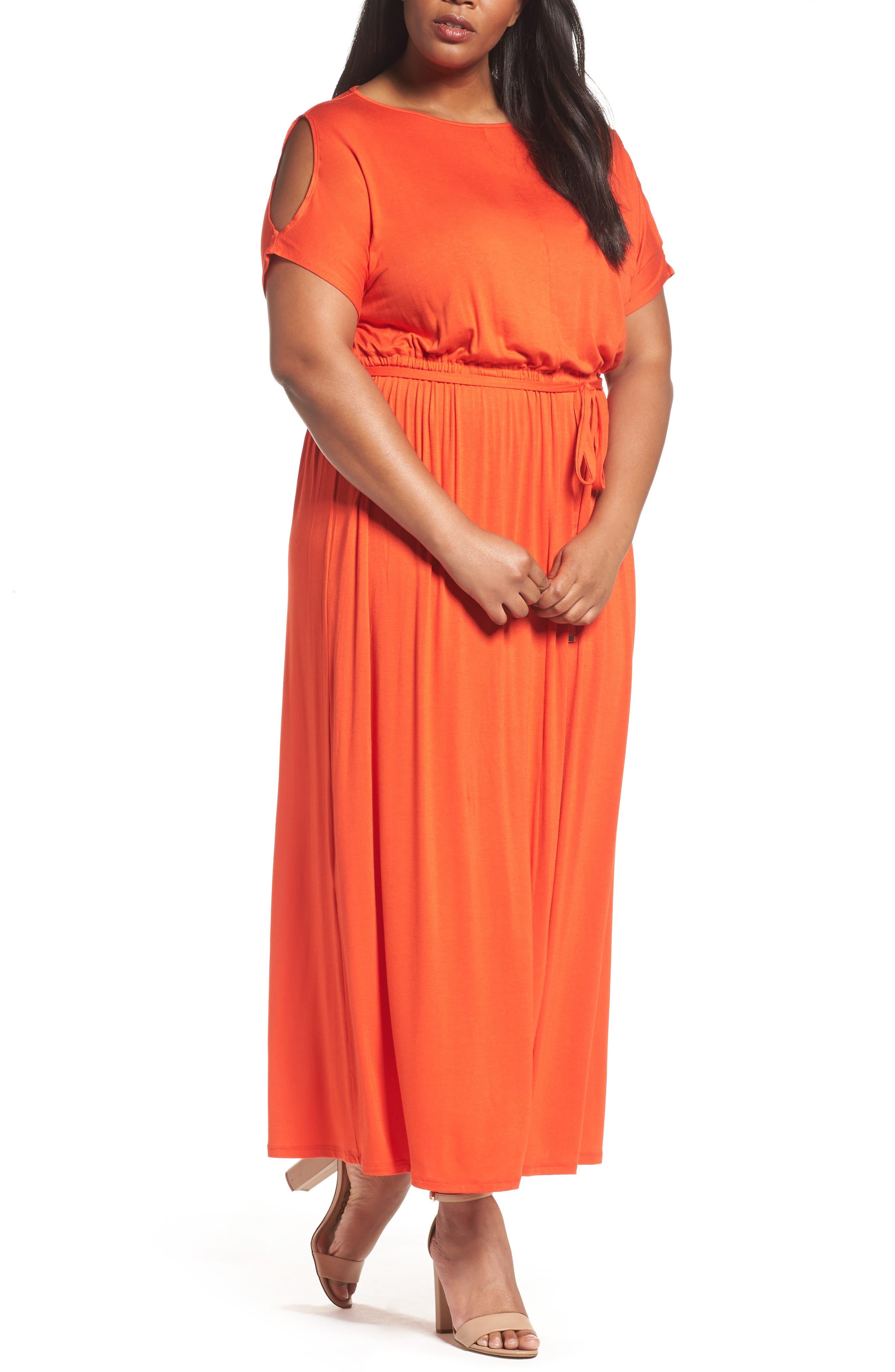Jersey Cold Shoulder Maxi Dress,                         Main,                         color, Red