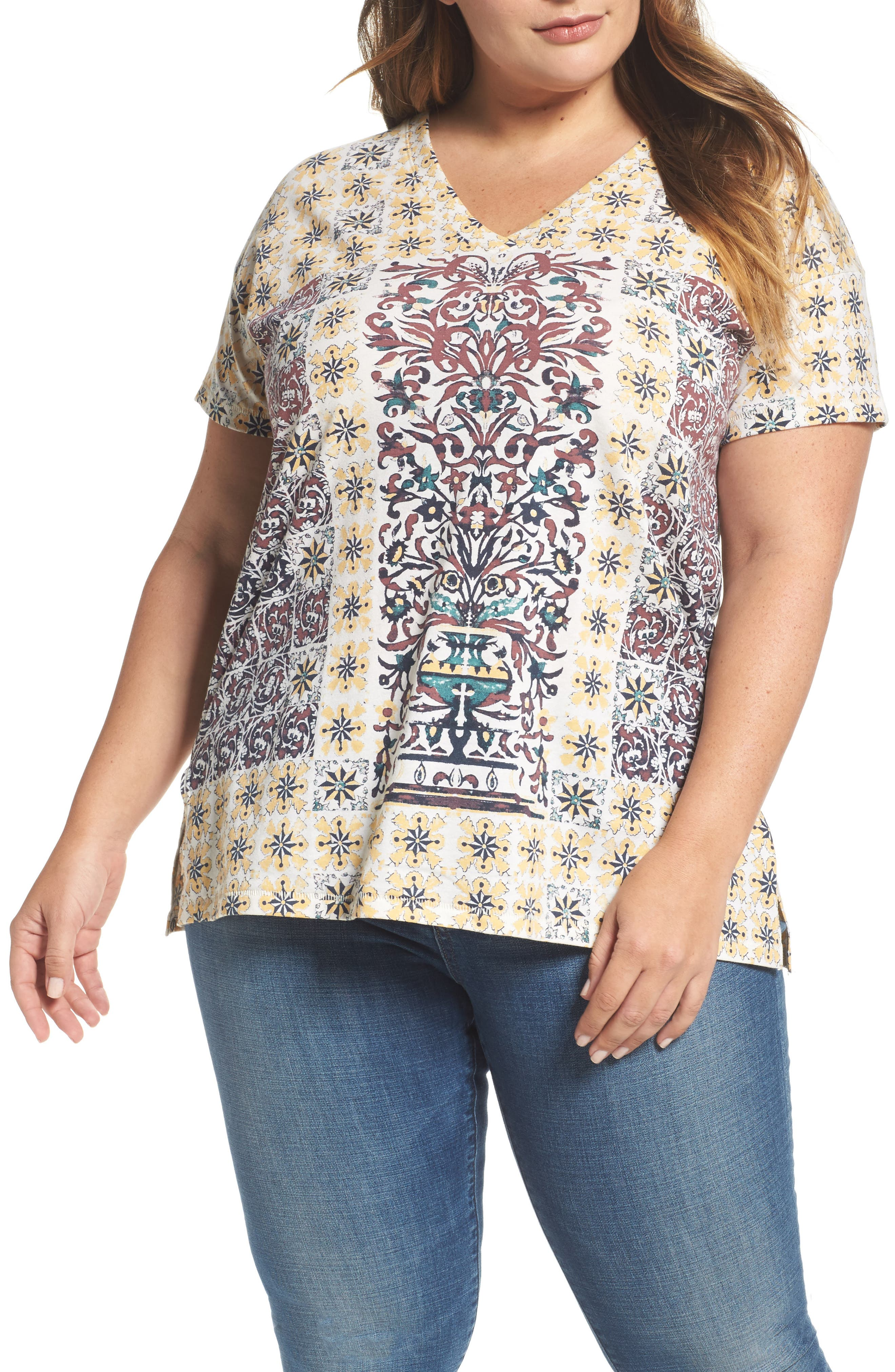 Lucky Brand Moroccan Tile Tee (Plus Size)