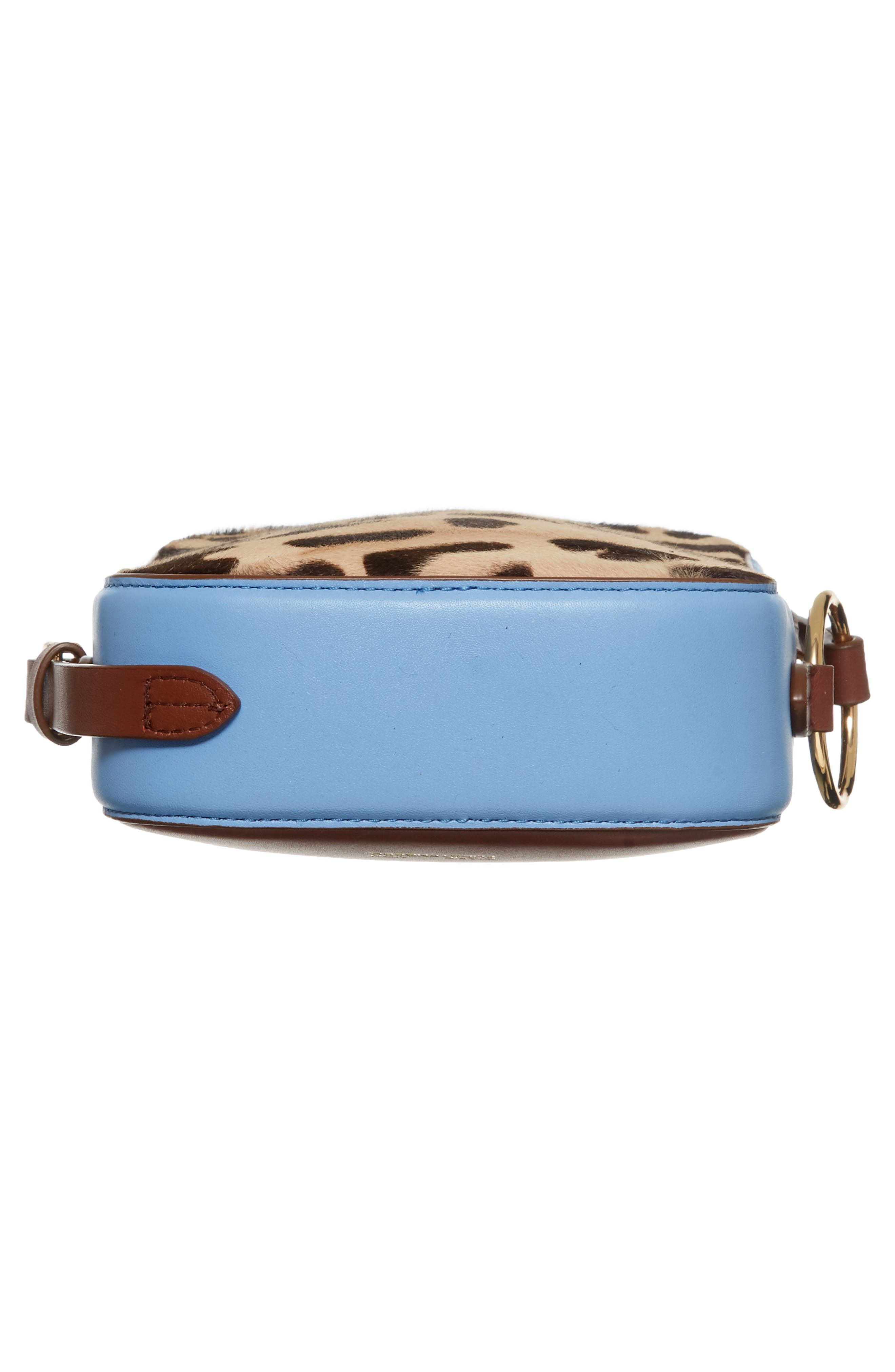 Leather & Genuine Calf Hair Camera Bag,                             Alternate thumbnail 6, color,                             Leopard/ Powder Blue