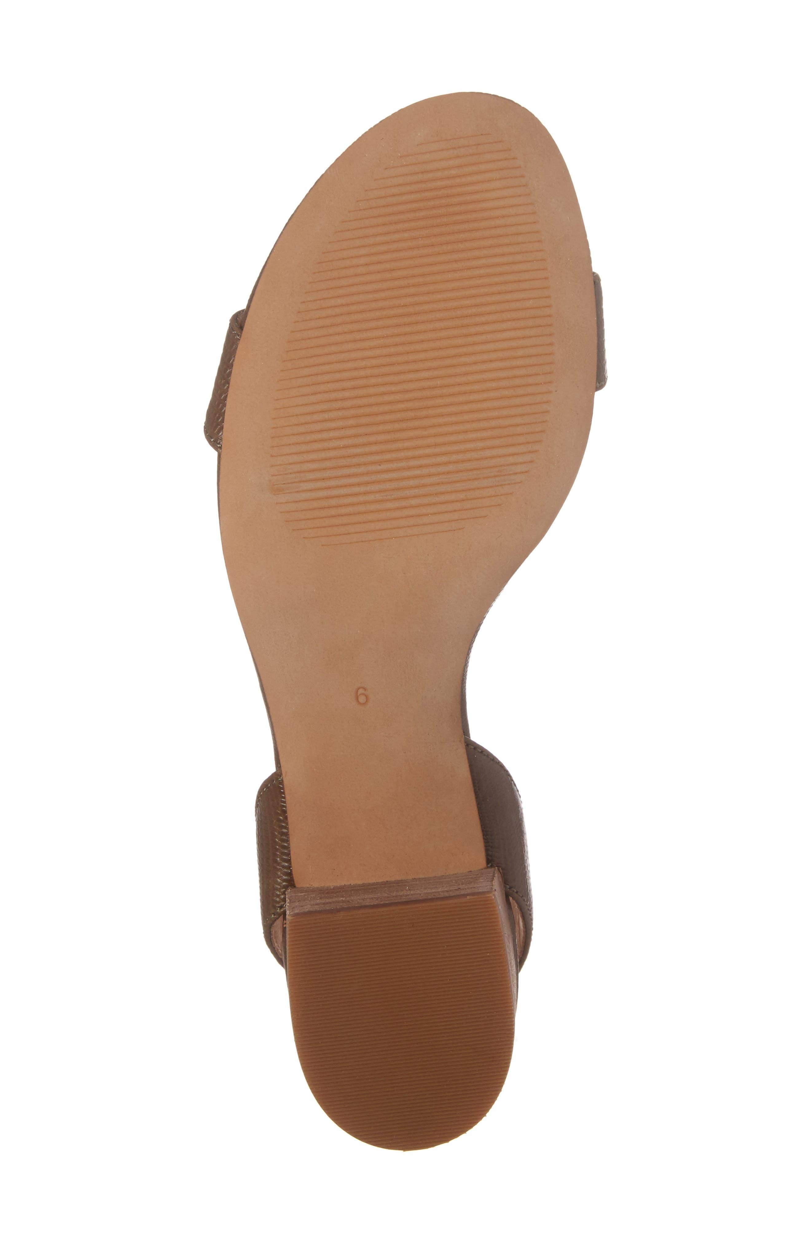 Alice Embossed Ankle Wrap Sandal,                             Alternate thumbnail 6, color,                             Safari Khaki Leather