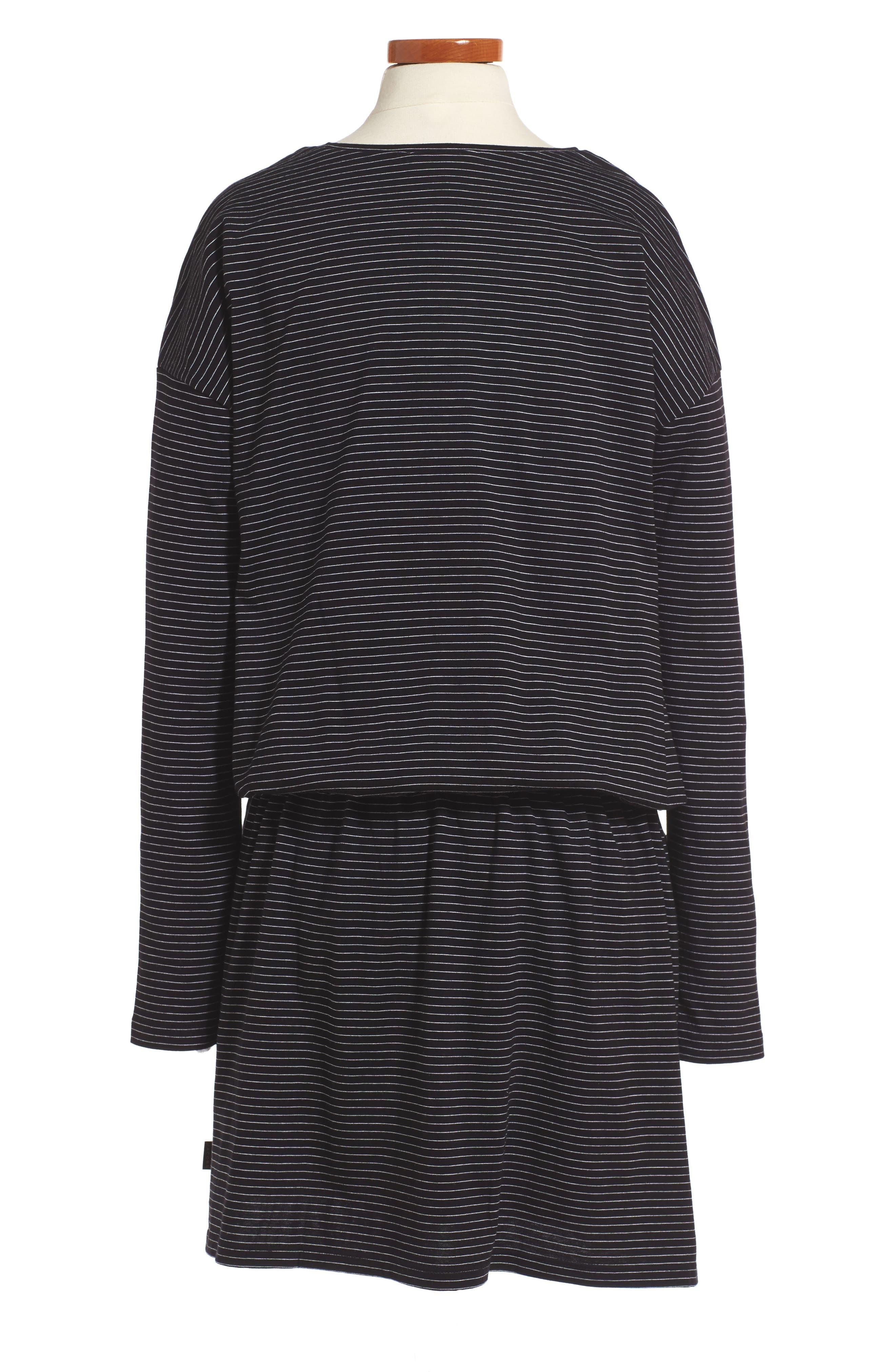 Swan Embroidered Blouson Dress,                             Alternate thumbnail 2, color,                             Black