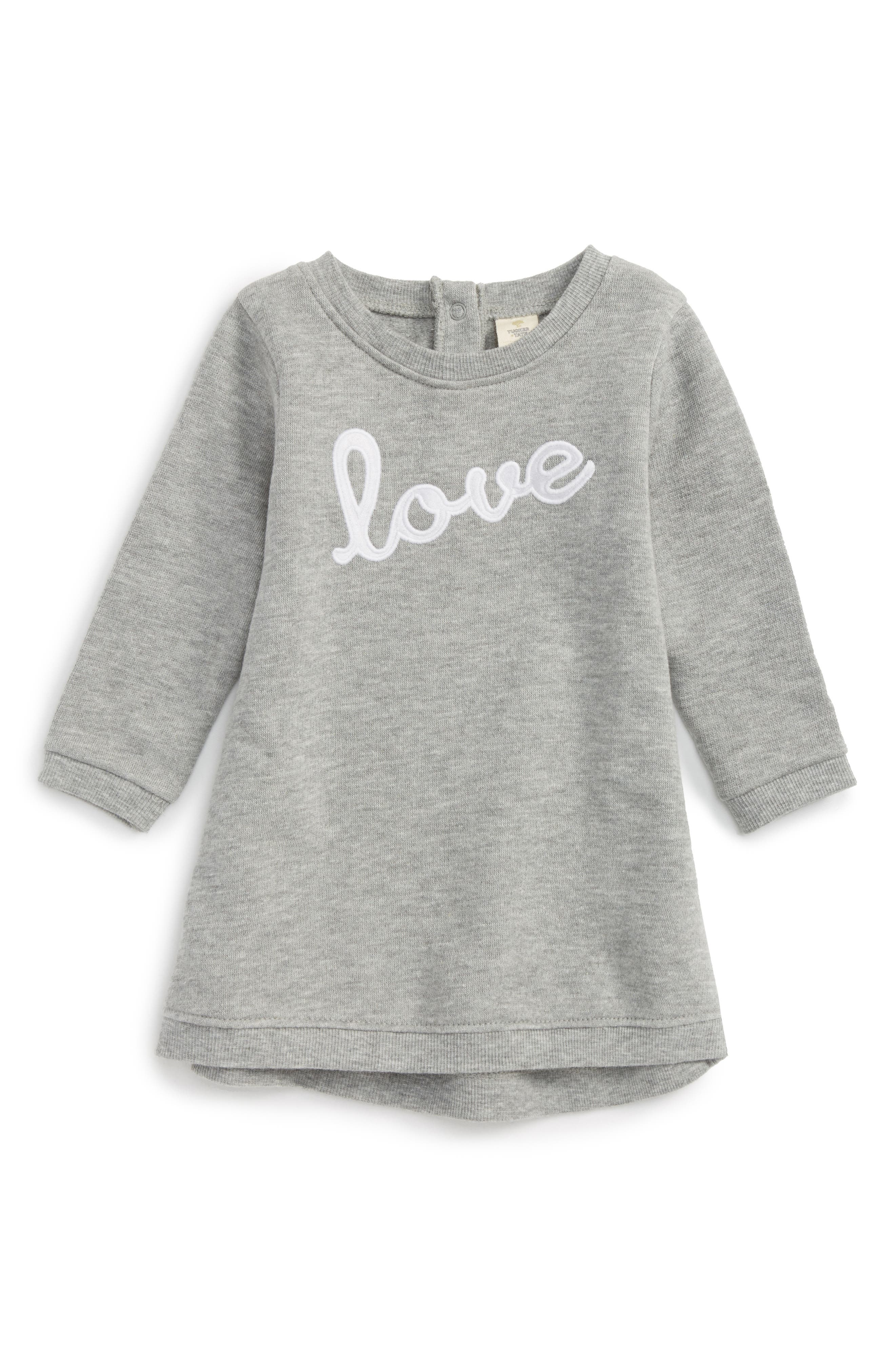 Appliqué Terry Dress,                         Main,                         color, Grey Medium Heather Love