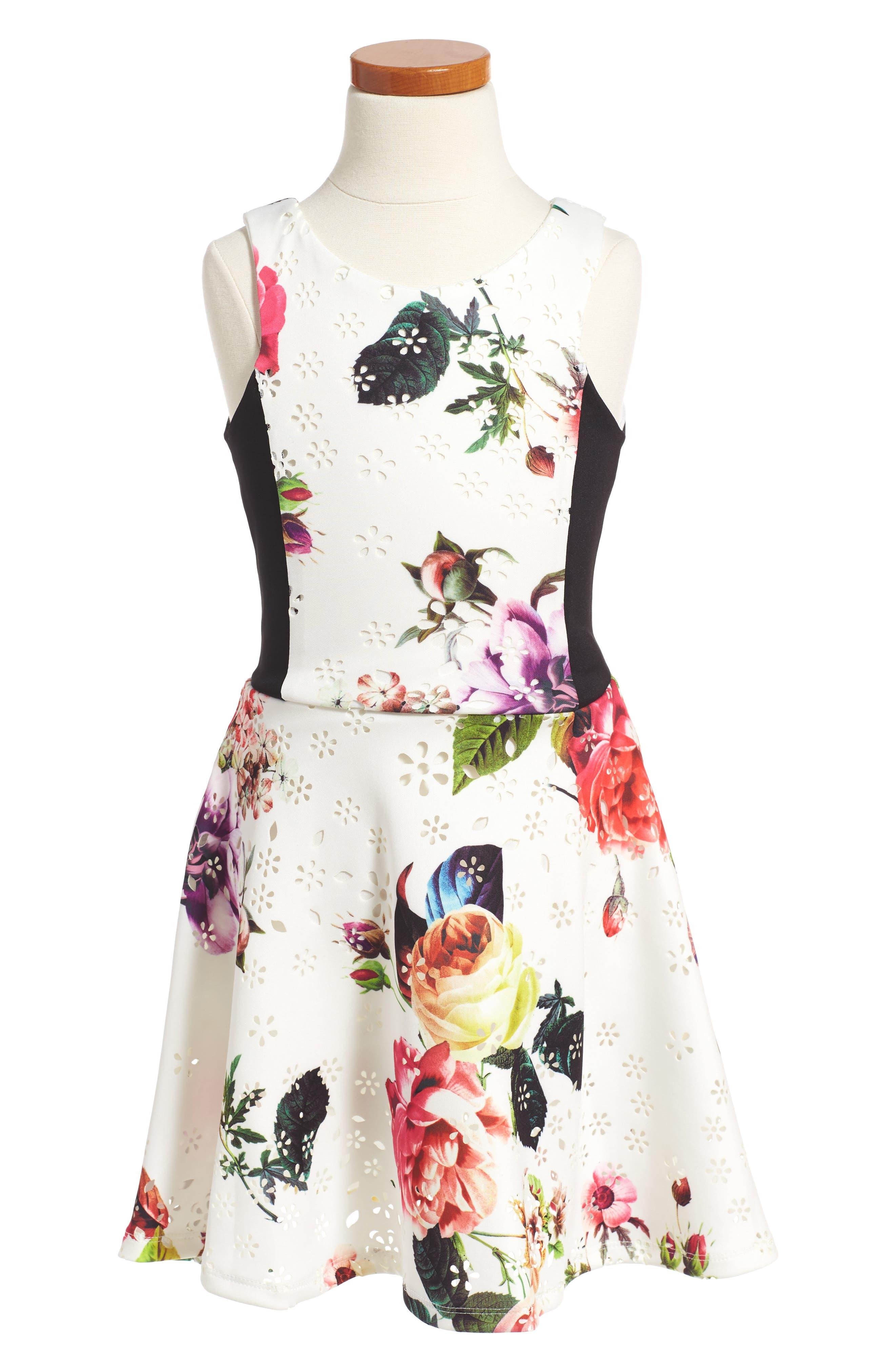 Floral Print Sleeveless Dress,                             Main thumbnail 1, color,                             Cream Multi