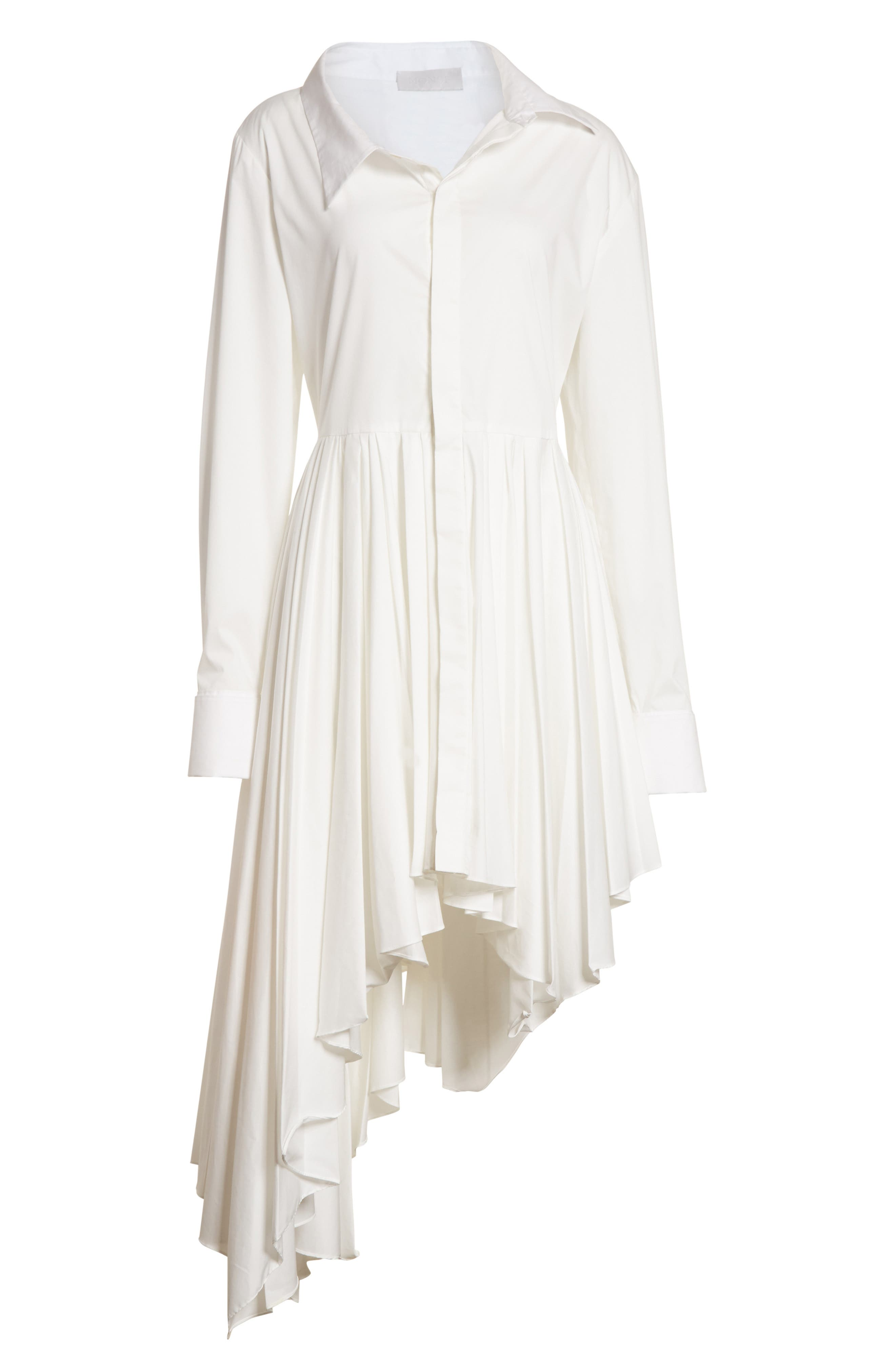Pleated Asymmetrical Shirtdress,                             Alternate thumbnail 6, color,                             White