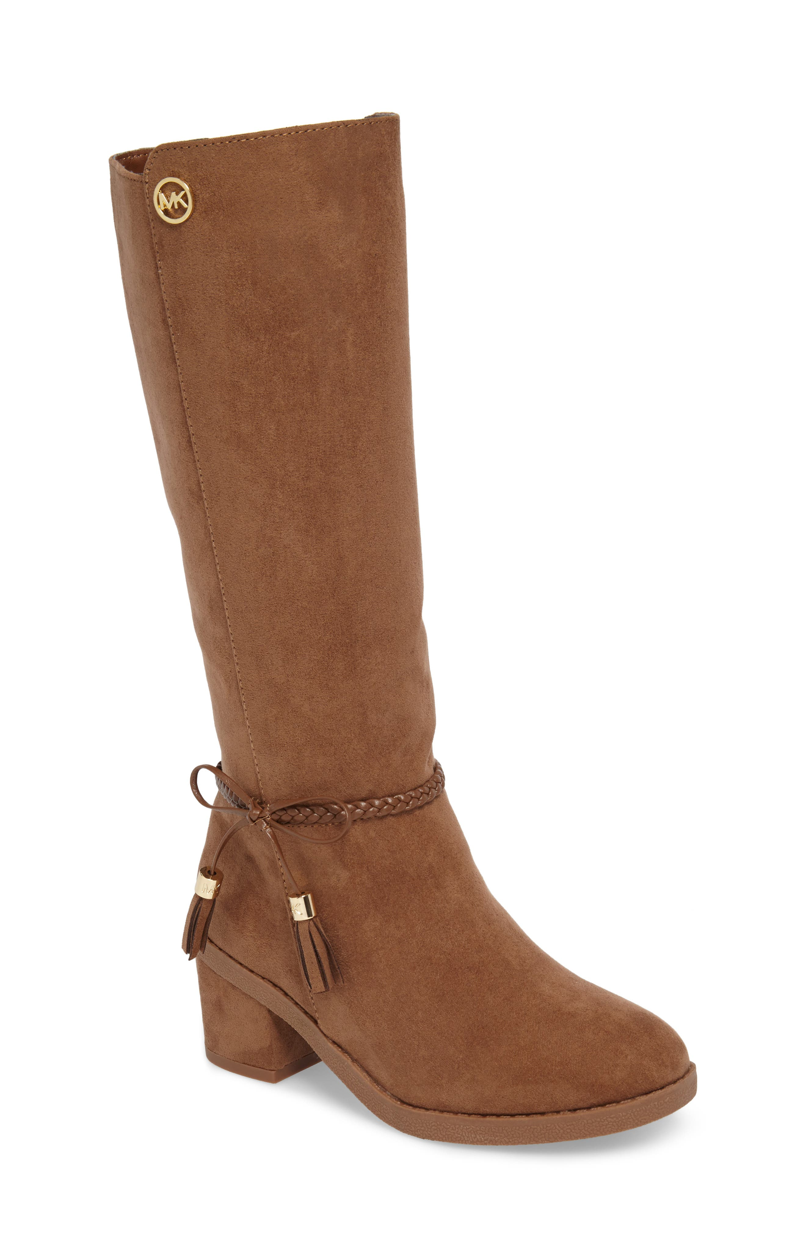 Fawn Simmy Riding Boot,                             Main thumbnail 1, color,                             Caramel Faux Suede