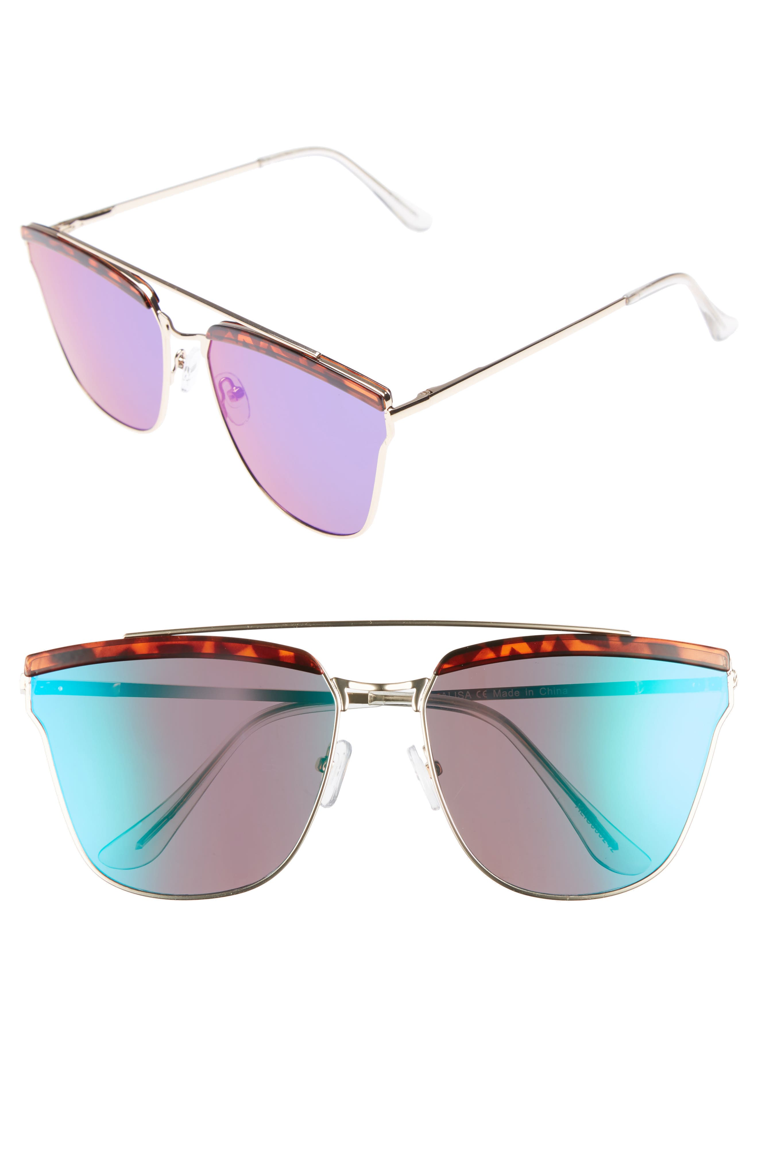 60mm Mirror Sunglasses,                             Main thumbnail 1, color,                             Gold/ Tort