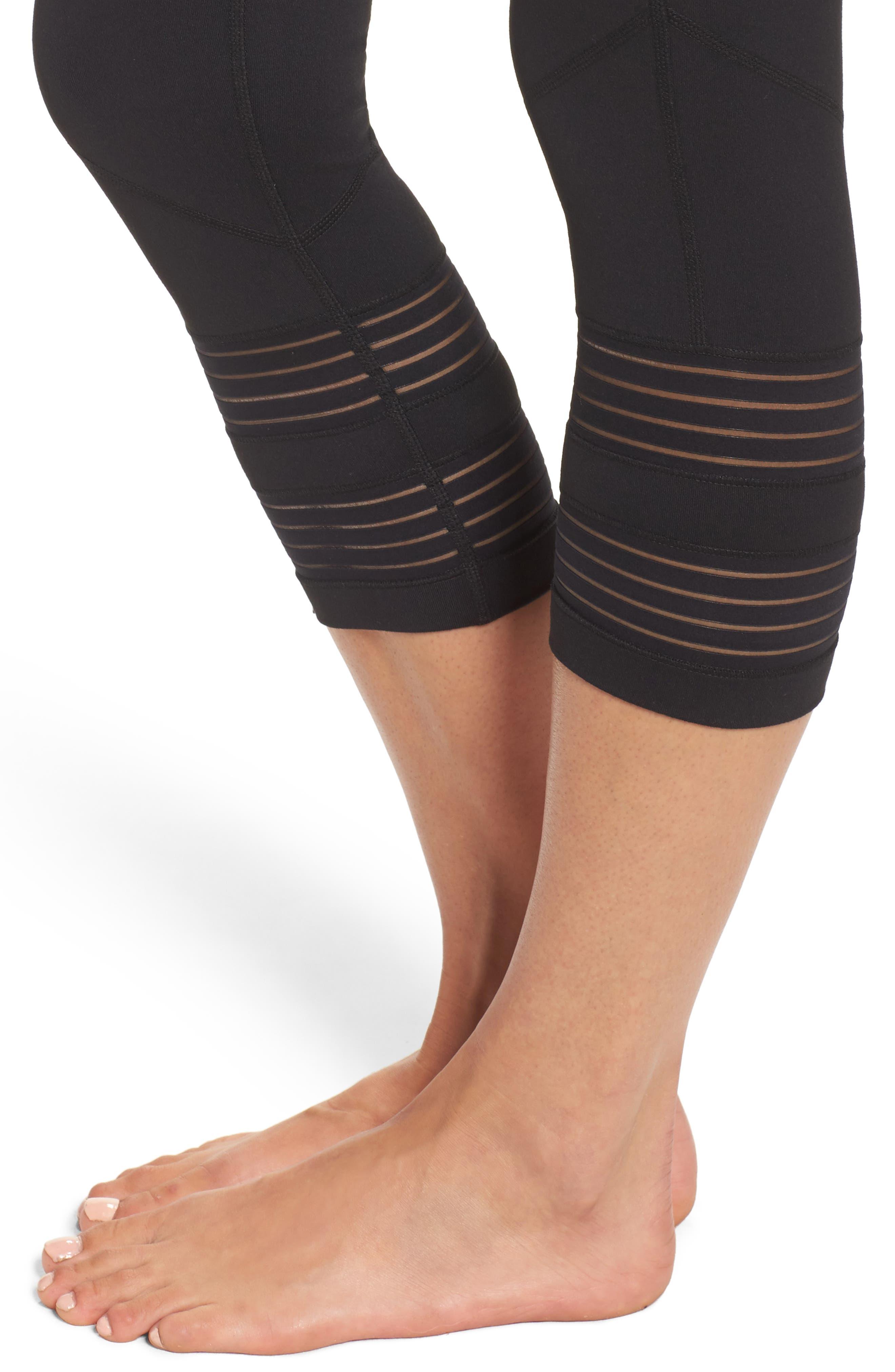 Twin High Waist Crop Leggings,                             Alternate thumbnail 4, color,                             Black