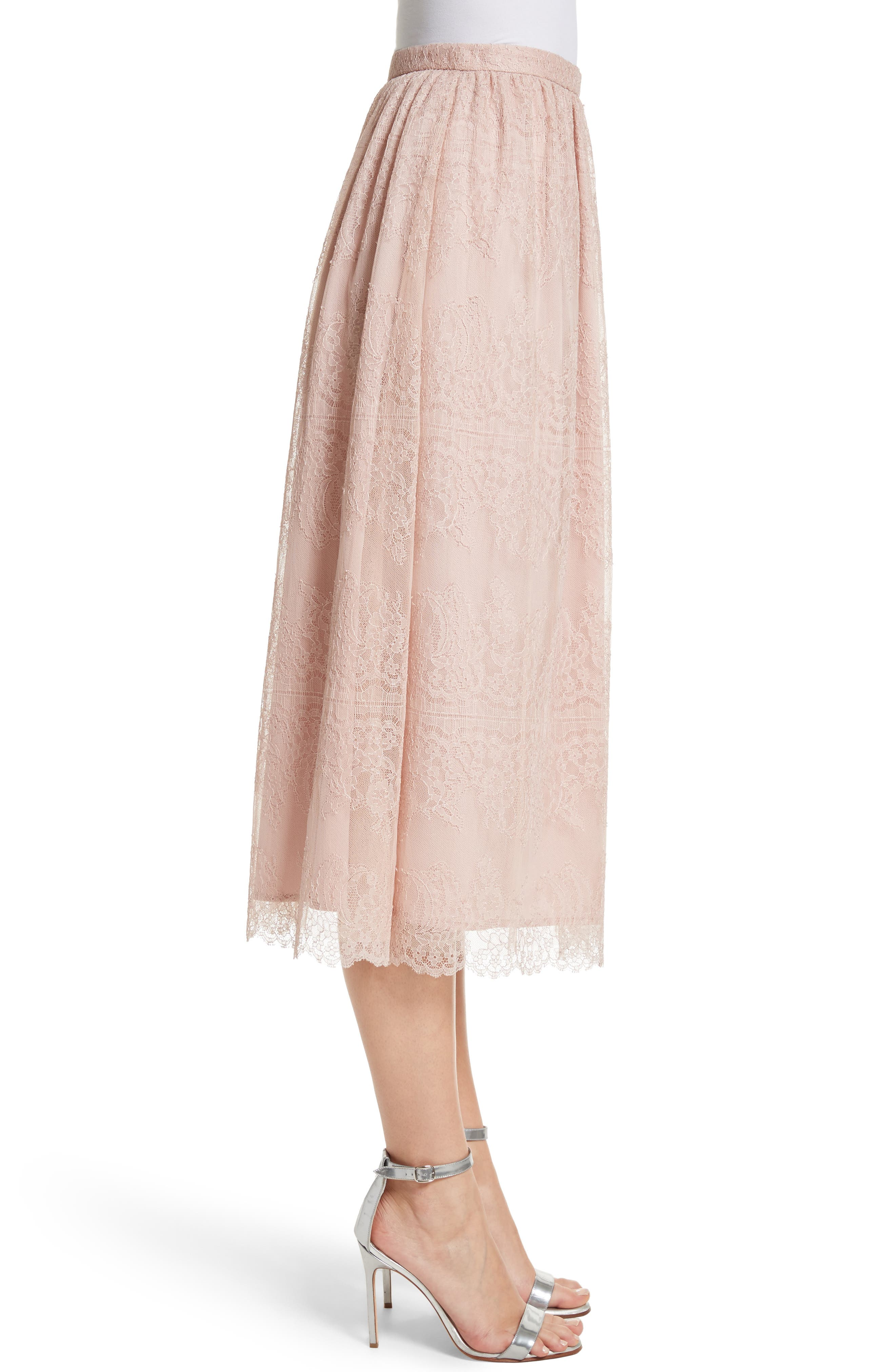Chantilly Lace Gathered Skirt,                             Alternate thumbnail 3, color,                             Powder