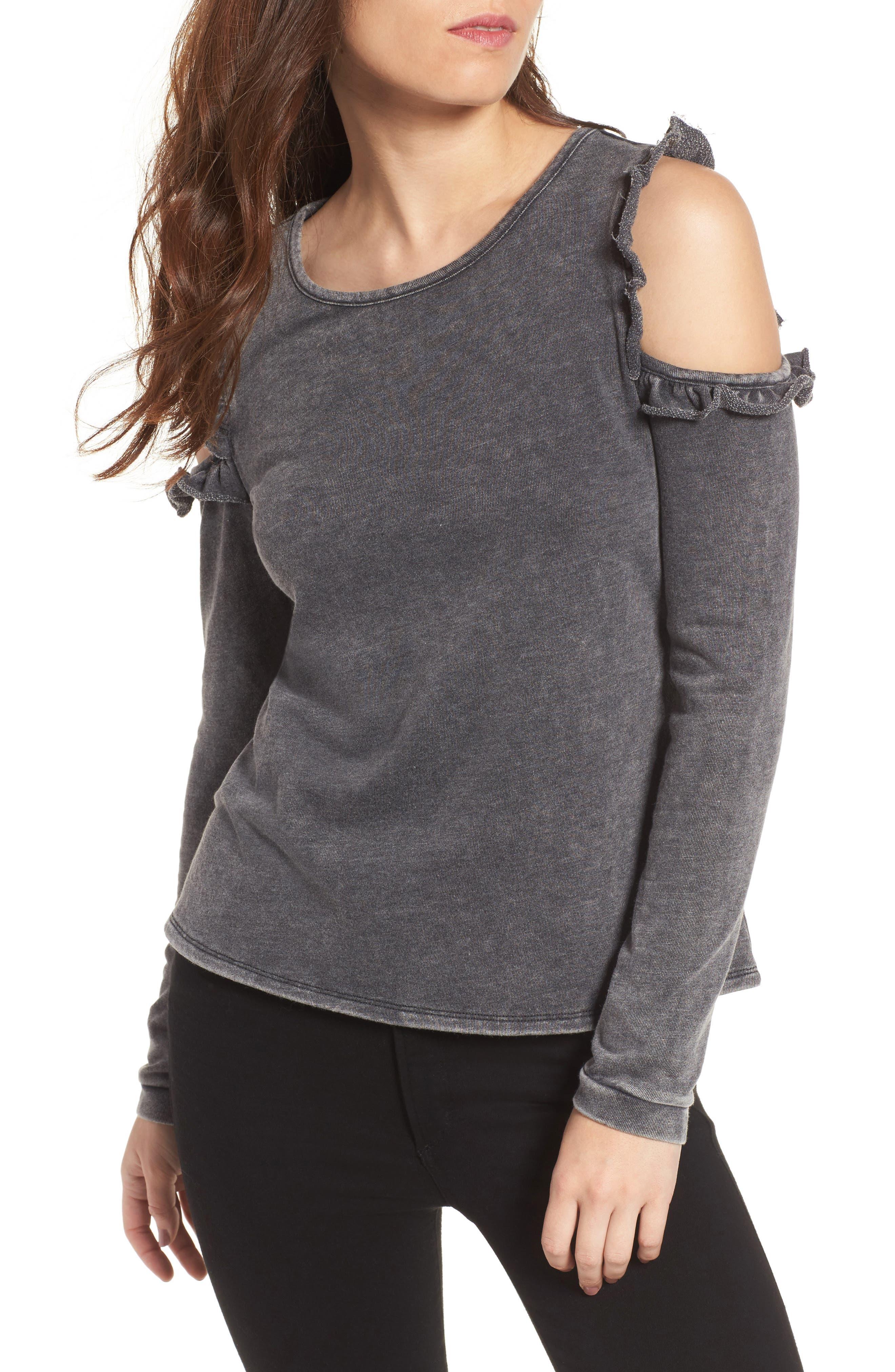 Love, Fire Ruffle Cold Shoulder Sweatshirt