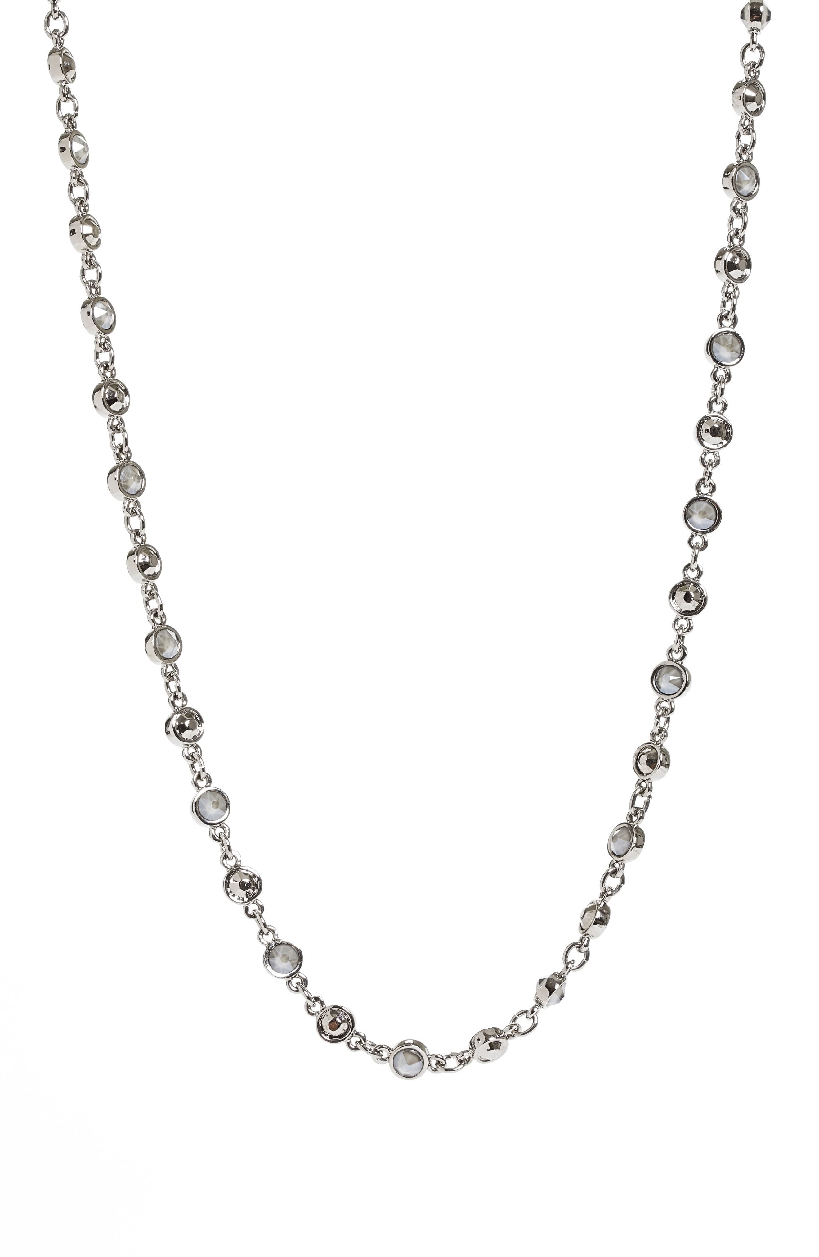 Swarovski Crystal Chain Necklace,                         Main,                         color, Ruthenium/ Crystal Dark Grey