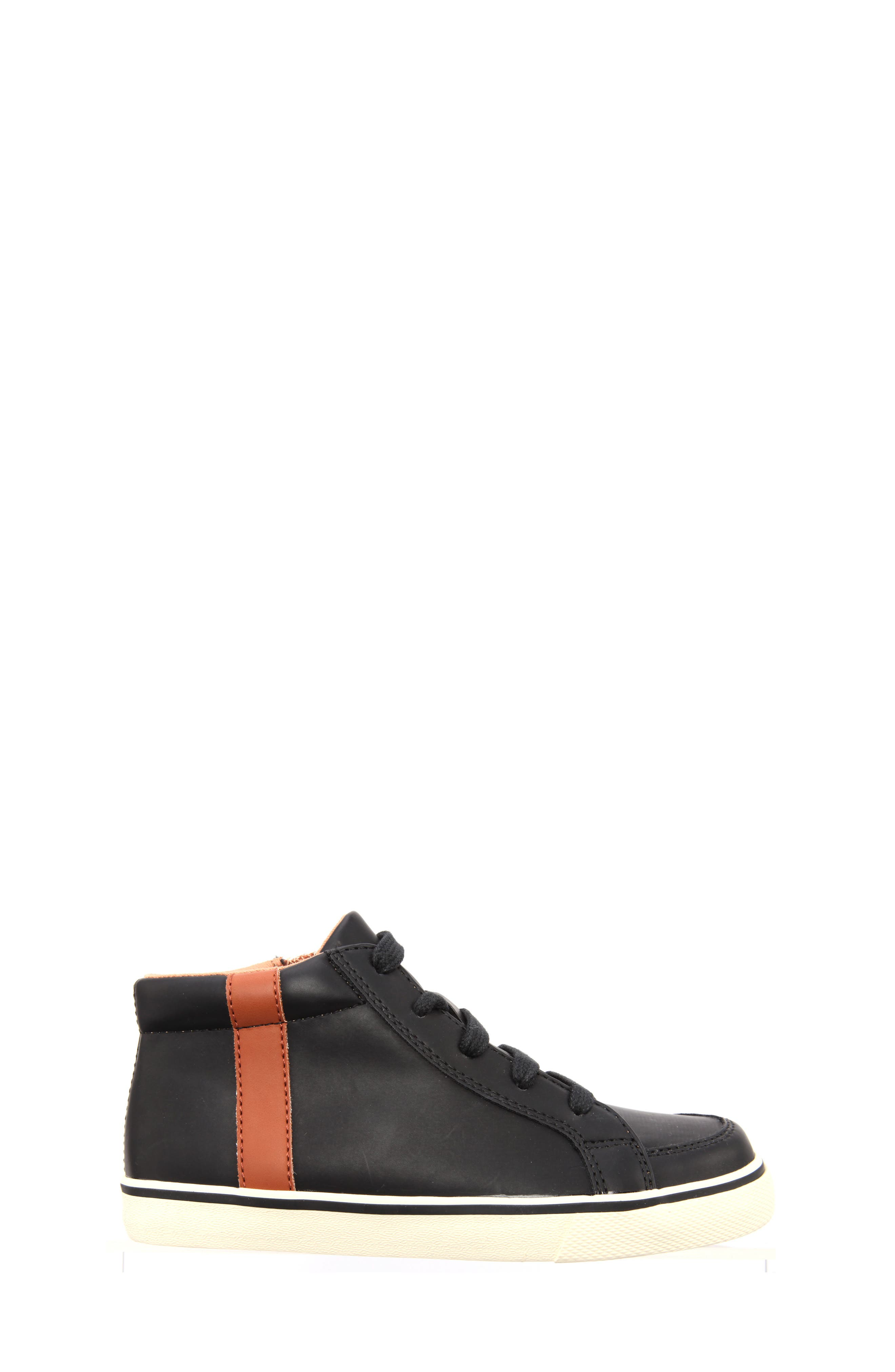 Miguel Stripe Mid Top Sneaker,                             Alternate thumbnail 3, color,                             Black Smooth Matte