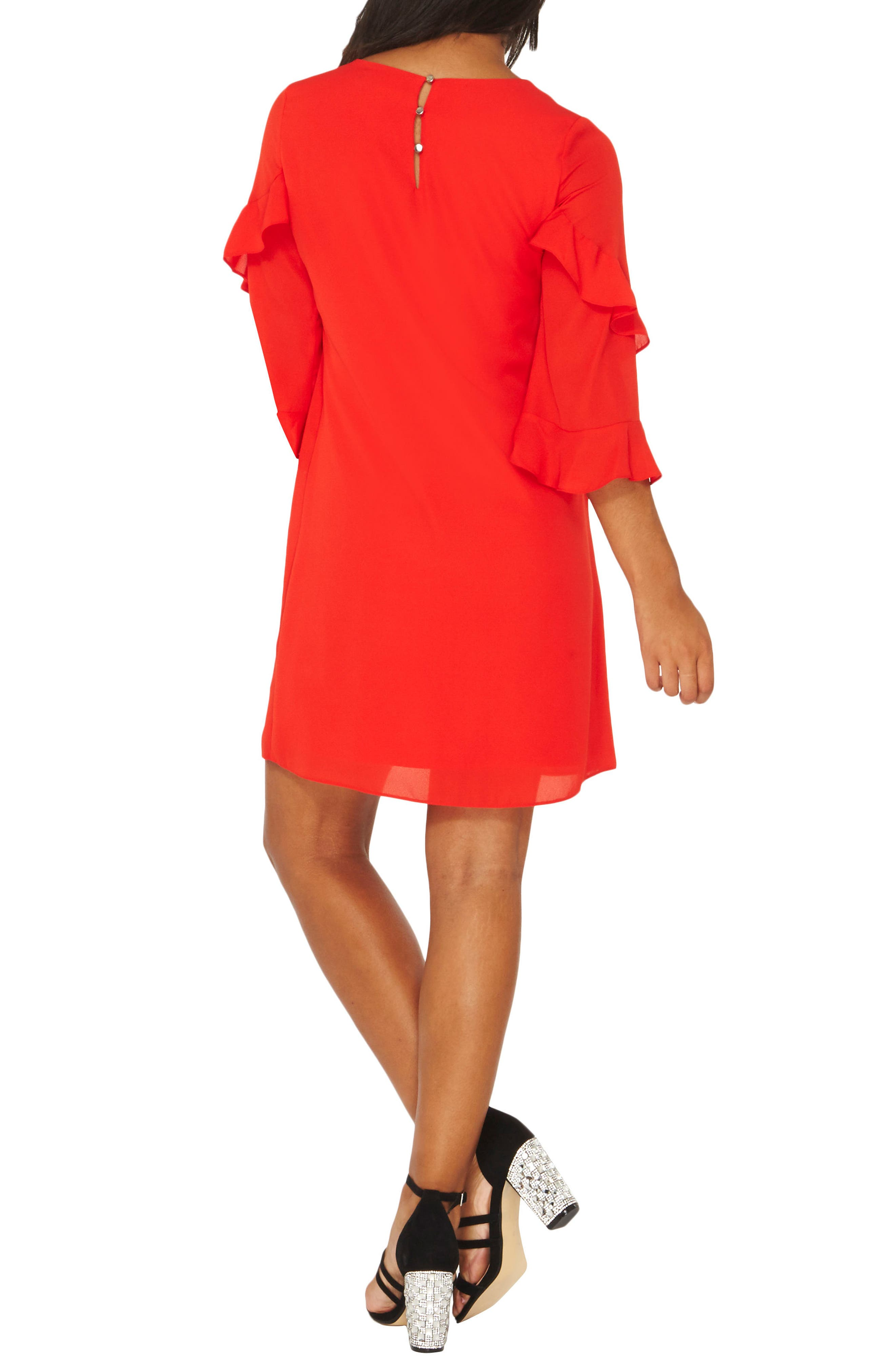 Ruffle Bell Sleeve Shift Dress,                             Alternate thumbnail 2, color,                             Red