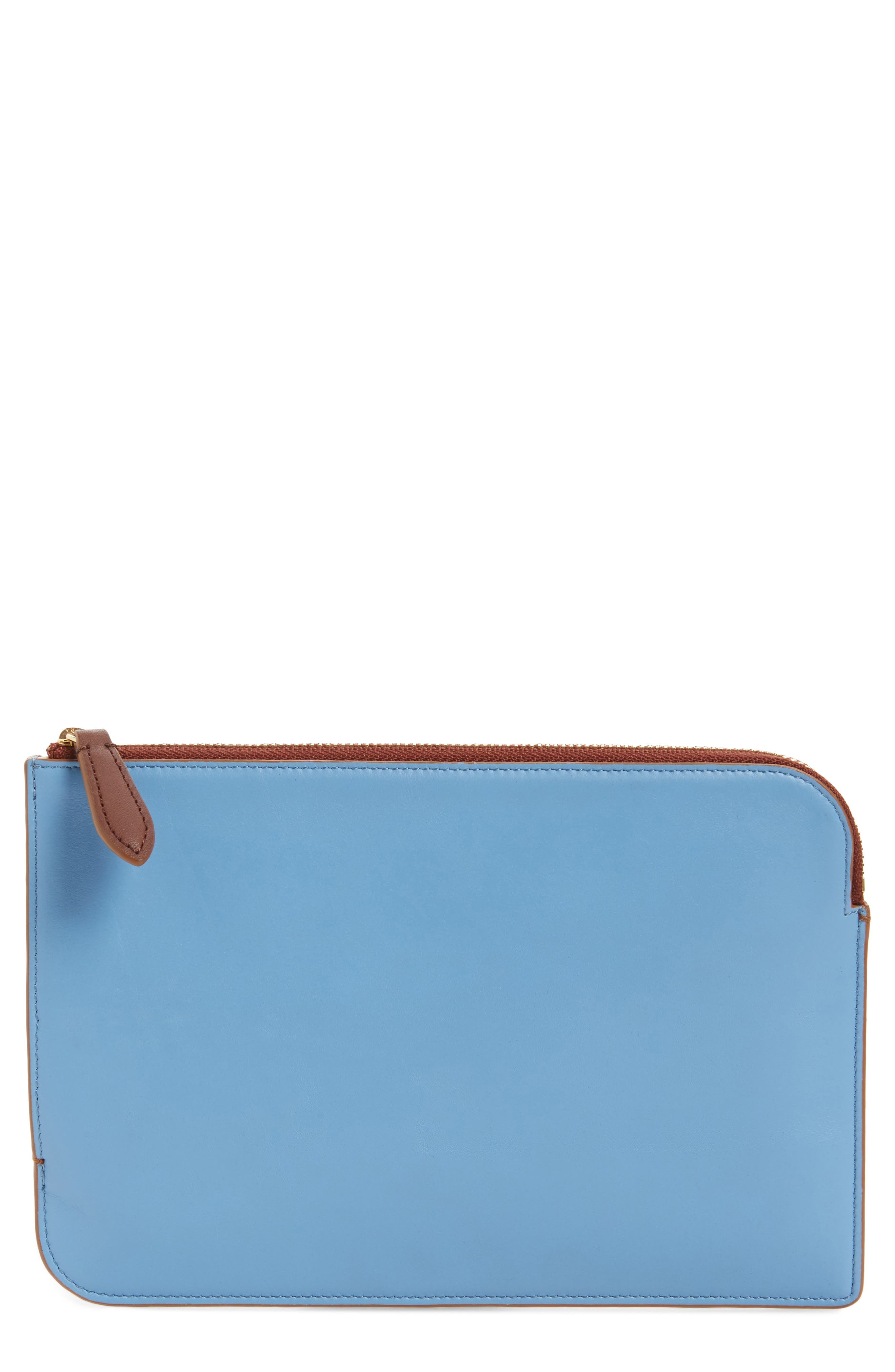 Medium Leather Zip Pouch,                             Main thumbnail 1, color,                             Powder Blue/ Dusty Pink